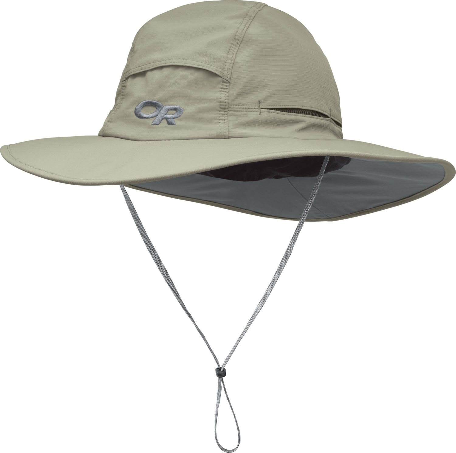 "Key Features of the Outdoor Research Sombroilet Sun Hat: SolarShield construction Ripstop nylon/polyester blend; UPF 50+ Foam-stiffened brim ? oats Flexible, circumferential piping along brim for wind resistance Mesh-lined crown and TransAction headband Vents in crown for ventilation External drawcord adjustment Removable chin cord with cordlock Brim: 2 3/4""/ 7cm - $40.00"