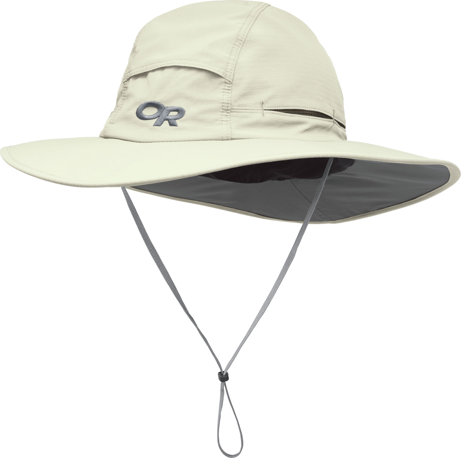 "If you plan to head out into the great outdoors and do some exploring you want to be comfortable. Whether scrambling through brush or striding down trails the Outdoor Research Sombroilet Sun Hat is ready to shade your eyes and help protect you from the elements. The blended material is durable enough and designed to take trekking through the wilderness. Vents in the crown help control your body temperature and the drawcord makes sure you get a comfortable fit.* SolarShielda""  construction * Ripstop nylon/polyester blend; UPF 50+ * Foam-stiffened brim floats * Flexible, circumferential piping along brim for wind resistance * Mesh-lined crown and TransActiona""  headband * Vents in crown for ventilation * External drawcord adjustment * Removable chin cord with cordlock * Brim: 2A 3/4a / 7cm * Avg Weight: (L) 3.1 oz. / 88 g - $24.95"