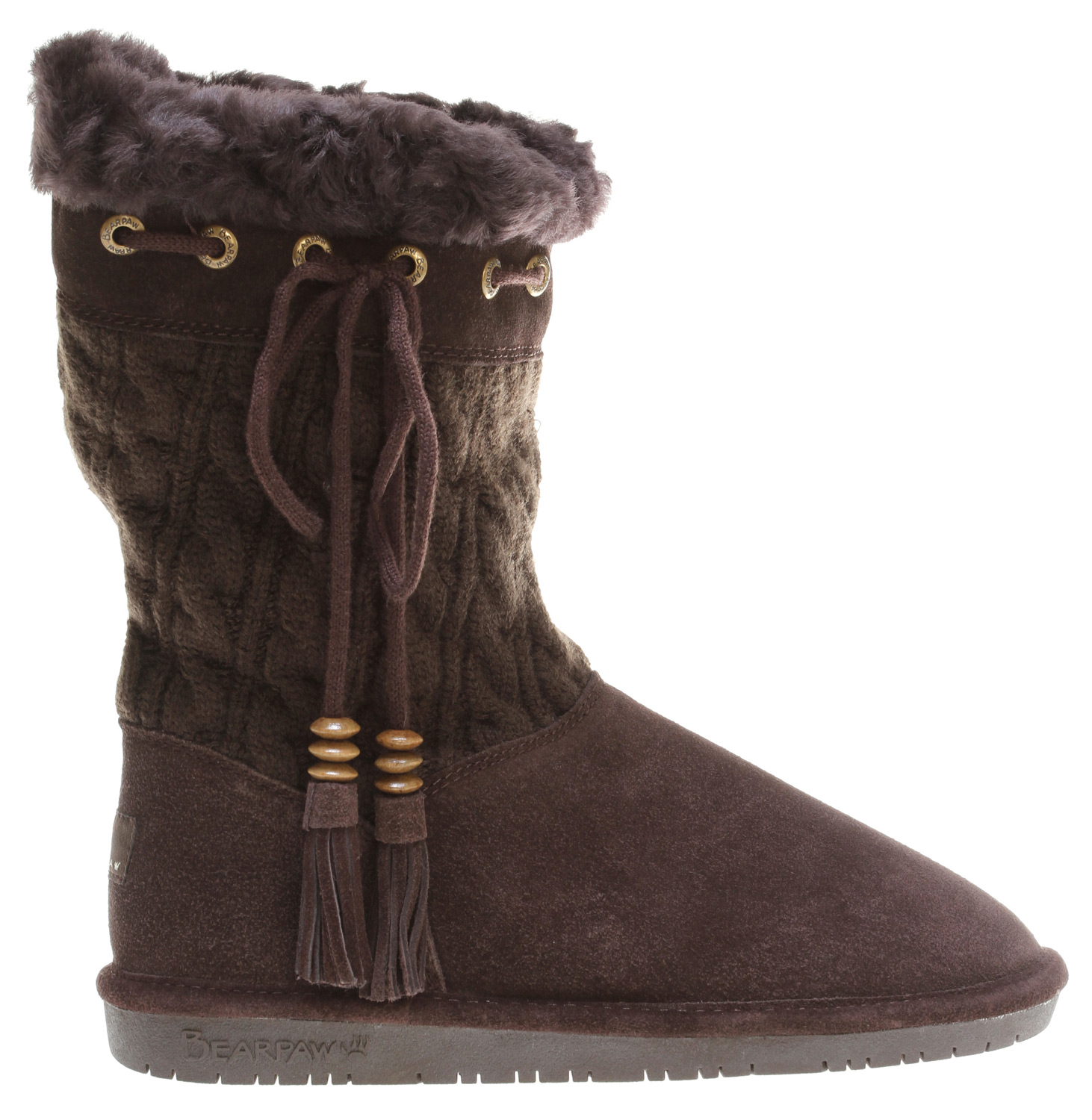 Key Features of the Bearpaw Constantine Solid Knit Casual Boots: Cow suede and cable knit pattern Top collar tie detail trimmed with suede tassels and wood beads Sheepskin and wool blend lining Sheepskin footbed woven label heel logo - $54.95