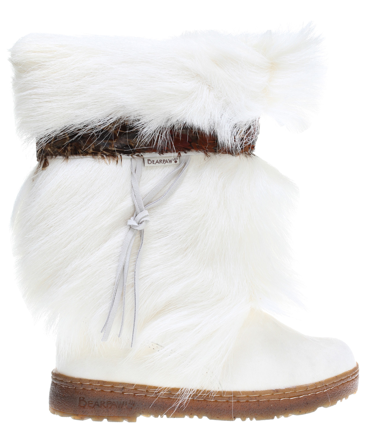 "The absolutely perfect boot for those times you want to walk on the wild side with style, warmth, and comfort. The feather banded trim and suede ties add just the right touch of fashion that will complete any outfit. Key Features of the Bearpaw Kola Boots: 11"" tall Cow hair vamp Goat fur with feather banded trim and suede ties Wool blend lining Sheepskin footbed Woven heel logo Semi clear rubber with cork cupsole Water shedding tread design and stitched detail Tip: Order 1 size up, see size chart for details. - $139.99"
