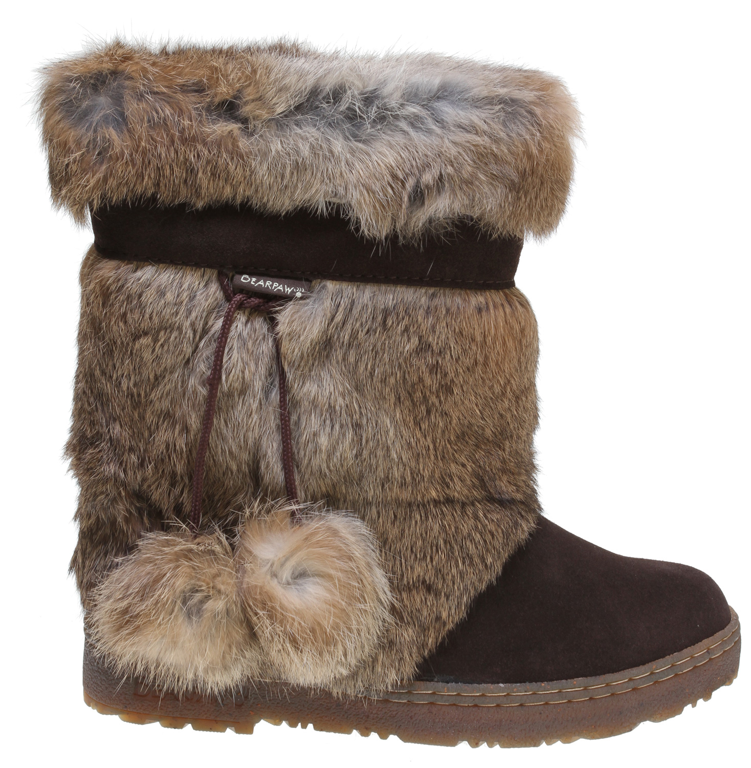 The Tama is sure to give you that extra flare, turn heads and make a statement when you wear these fluffy comforts out on the town. Look no further for groundbreaking comfort, warmth and a fashion statement.Key Features of the Bearpaw Tama II Casual Boots: Cow suede vamp Rabbit fur Branded trim and teis with pom poms 100% superwash merino wool lining Sheepskin footbed Metal heel logo - $129.99