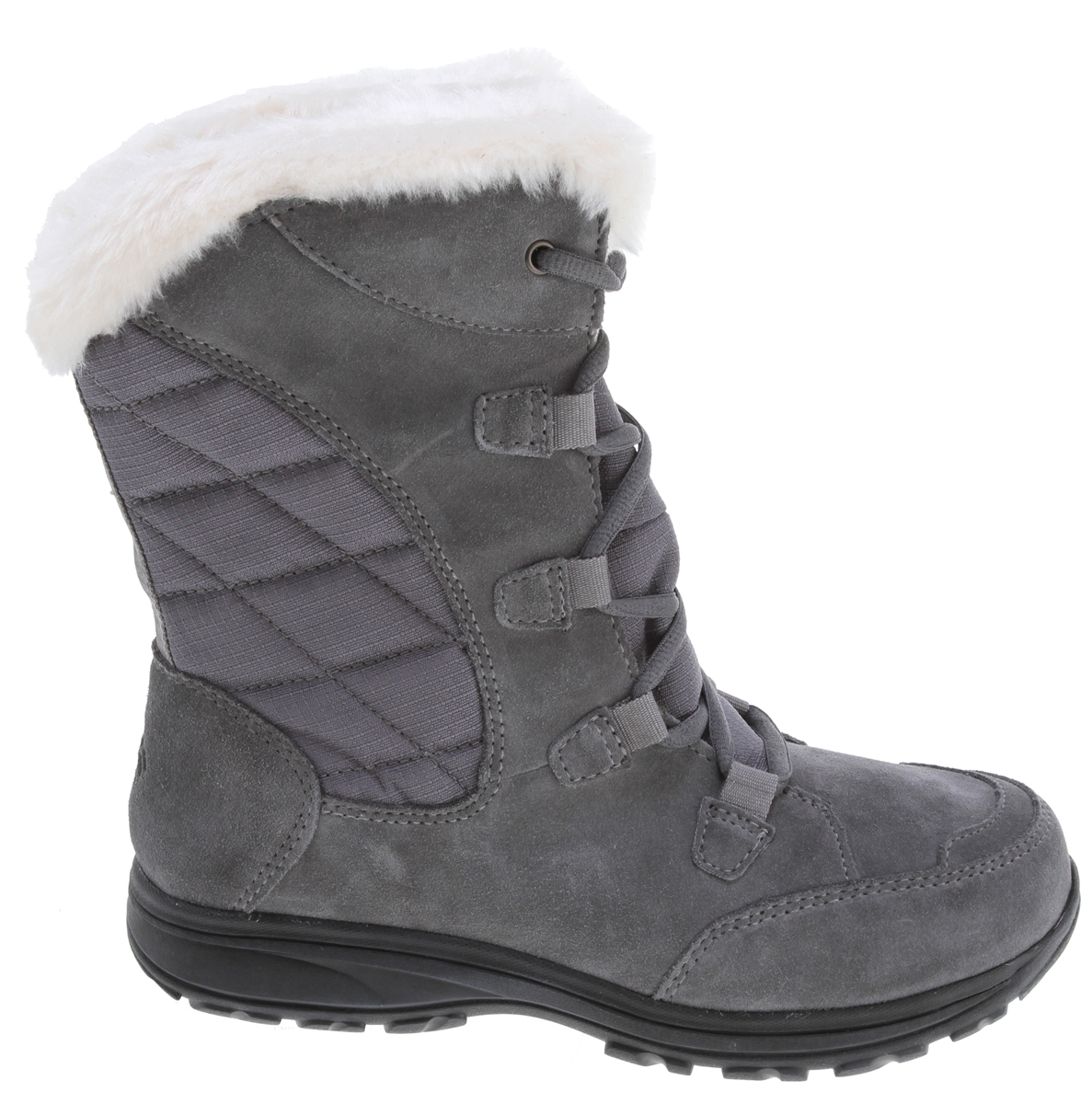 A value packed waterproof winter boot.Key Features of the Columbia Ice Maiden Lace Boots: Upper: Waterproof leather and textile. Faux fur collar for add warmth and soft fleece lining Insulation: 200gr insulation. Rated -25F/-32C Footbed: EVA for comfort and support Shank: Molded nylon shank provides torsional rigidity and support Midsole/Outsole: Non-marking Omni-Grip rubber compound with a winter specific lug tread pattern for maximum traction - $63.95