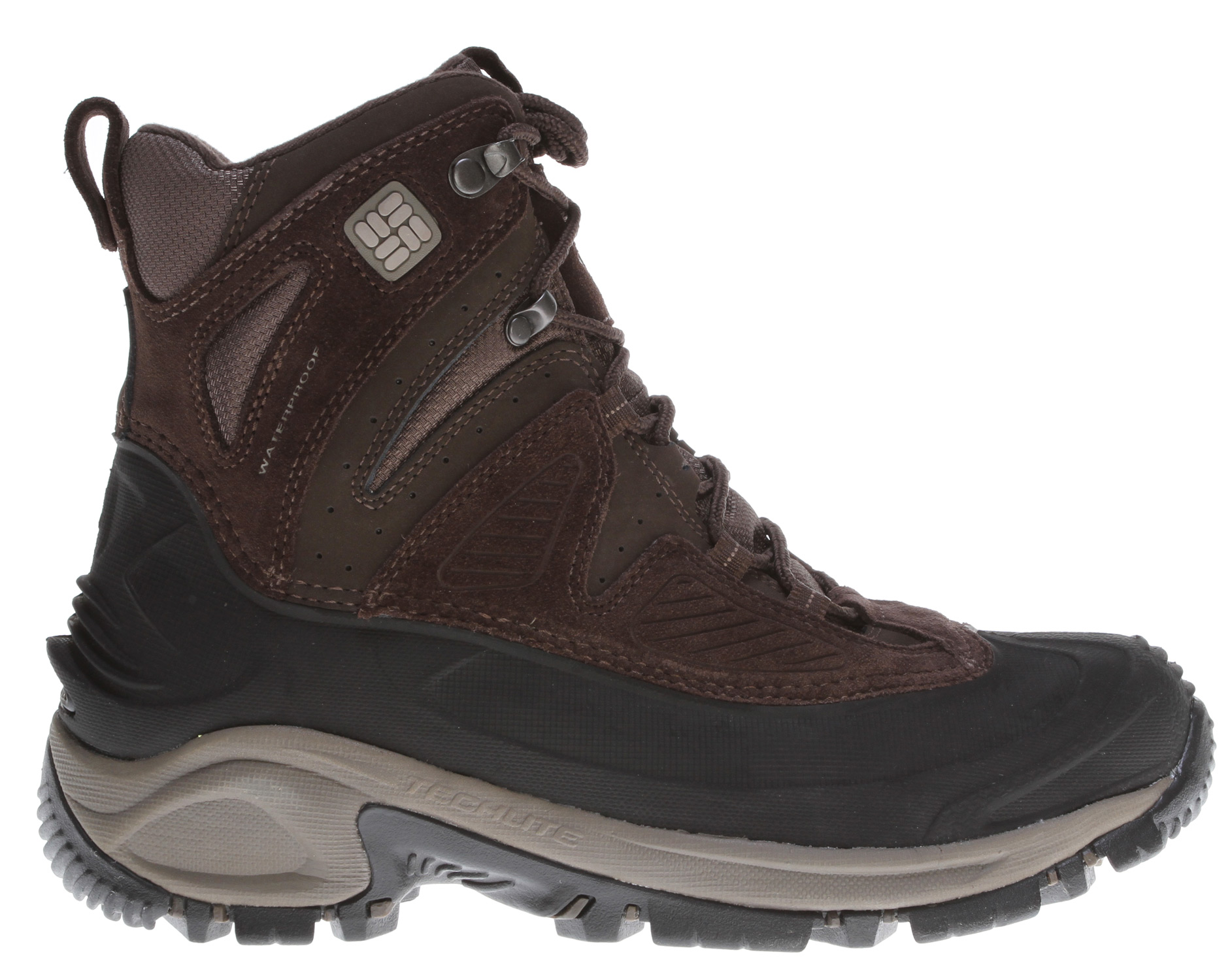 Key Features of the Columbia Snowtrek Boots: Combination Upper with injection molded shell, insulation, and waterproof leather Insulation is 200 grams and rated -25F/-32C. Full length Techlite midsole for lightweight cushioning Dual density Omni Grip outsole. - $70.95