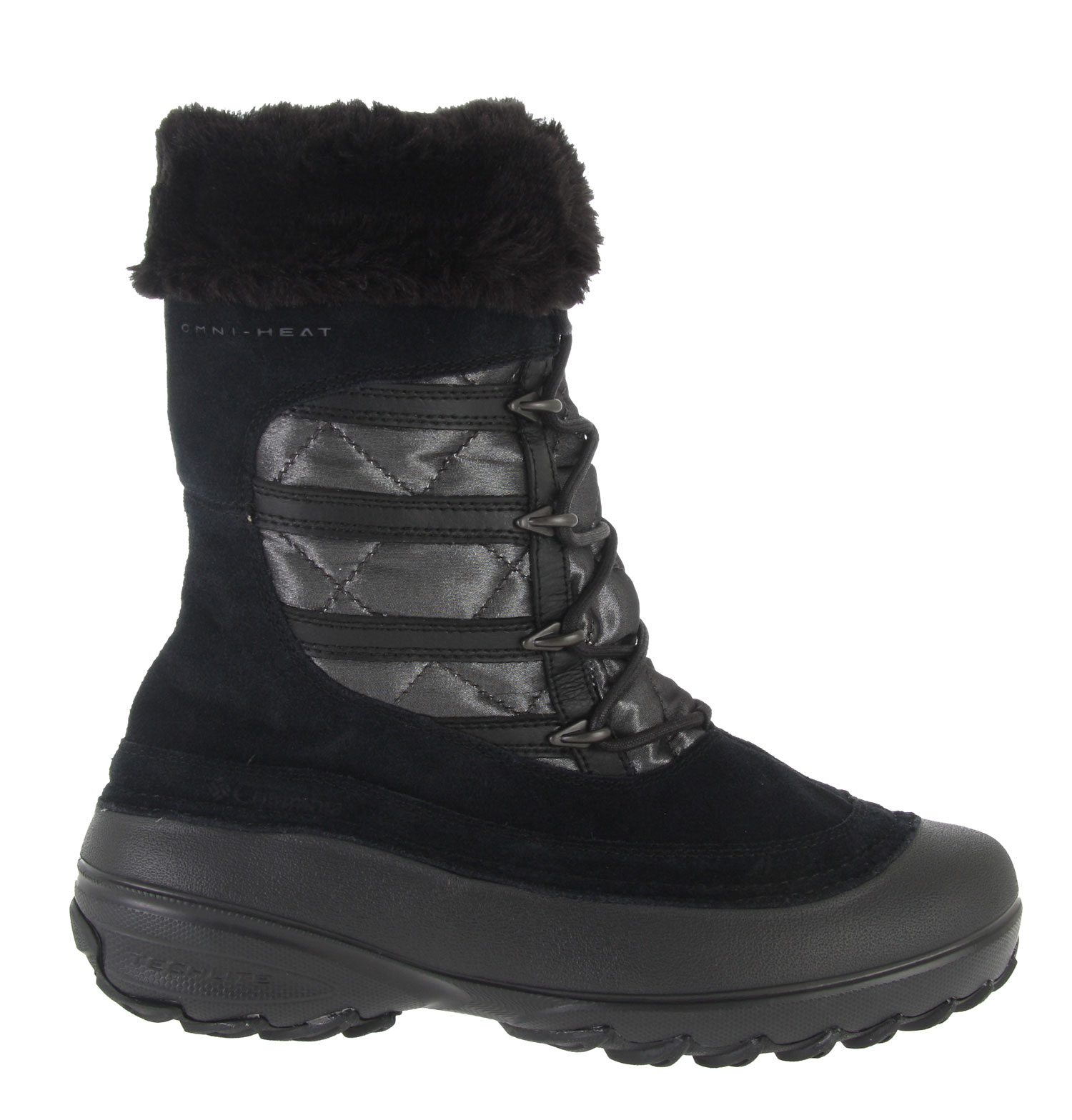 It's not always easy to blend a bit of style into a serious winter boot, but the Slopeside Omni-Heat boot steps up to the challenge. Created from plush, water-resistant quilted textile and rich suede, this cold weather all-rounder features Omni-Shield advanced repellency to block the elements and Omni-Heat technology to reflect your own body heat back into the boot, making sure you stay dry and warm not matter where your winter excursions take you. The Techlite molded shell is both lightweight and flexible for easy mobility; inside, a removable EVA footbed pampers feet with cushioned comfort. Underneath, an Omni-Grip lugged outsole with winter-specific traction lets you walk tall without fear of wipeouts. Key Features of the Columbia Slopeside Omni Boots: Water-resistant suede leather and textile with Omni-Shield advanced repellency. Omni-Heat technology reflects natural body heat for added warmth 200g Thermolite rated -25/-32C Removable, anatomically contoured EVA footbed with nylex cover Molded nylon shank provides torsional rigidity and support Techlite molded material provides cushioning and protection in a lightweight, flexible shell Non-marking Omni-Grip rubber compound outsole for optimal traction Weight: Size 7, 1/2 pair=1lb. 2oz/513g - $65.95