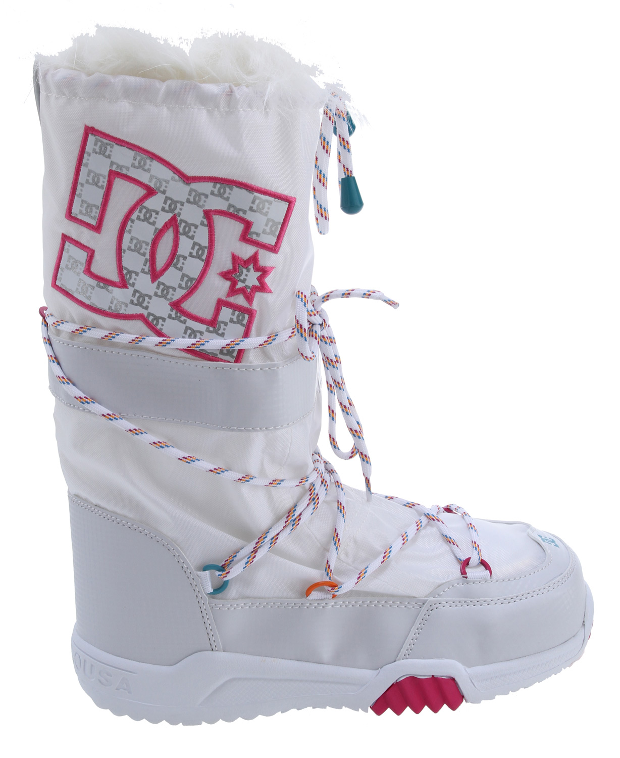 "Snowboard When the party moves back to the chalet, it's time for the Chalet SE 2.0, a knee-high nylon boot with easy entry and a faux fur top-collar. The drawstring lacing features custom accents, and DC's snowboard pill pattern graces the cold weather rubber bottom.Key Features of the DC Chalet 2.0 SE Boots: Nylon Knee Hi Boot Upper Easy Entry Boot Faux Fur Top Collar Drawstring Accents Snowboard ""Pill Pattern"" Cold Weather Rubber Bottom - $66.95"