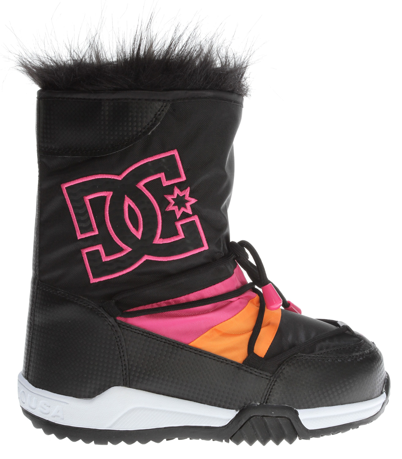 "Snowboard Key Features of the DC Lodge Boots: Nylon Hi Boot Easy Entry Faux Fur Top Collar Multicolor Quilted Panels Embroidered Logo Accents Beaded Drawstring Accents Snowboard ""Pill Pattern"" Cold Weather Outsole. - $64.95"