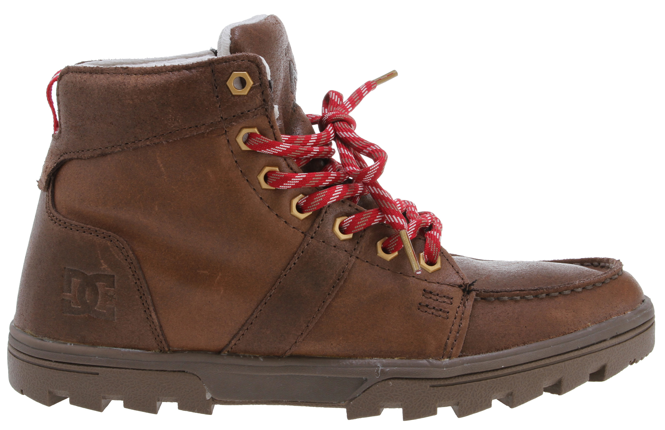 "The rugged Woodland brings premium materials to a casual boot. It features a full premium suede upper, as well as custom Allen key head lace eyelets. The lining is 100% poly, while the tongue and heel collar are foam padded for comfort and support; additionally, a gusset on the tongue helps keep out water. Key Features of the DC Woodland DW Boots: Custom 100% Poly Lining With DC's Trademarked ""Pill Pattern"" Full Premium Suede Upper Custom Allen Key Head Eyelets Foam Padded Tongue And Collar For Added Comfort And Support Tongue Gusset To Keep The Water Out Performalite Polyurethane Midsole And A Rugged All-Terrain Rubber Outsole - $82.95"