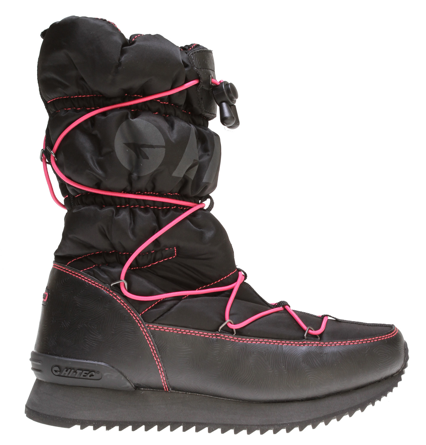 Key Features of the Hitec New Moon 200 Shoes Black/Melon: DWR treated synthetic upper 200g Thinsulate insulated construction Die-cut EVA midsole Carbon rubber outsole - $68.95