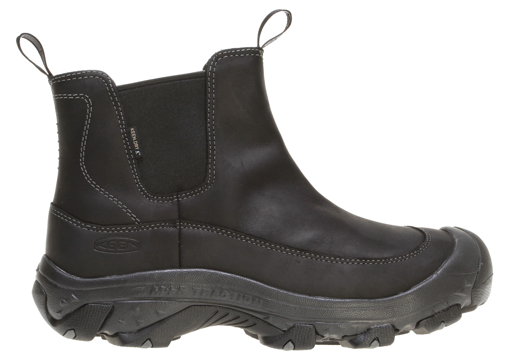 "Camp and Hike The Anchorage Boot to offers the warmth and all-season traction of a winter pack boot, combined with classic KEEN protection and style. Pairing a handsome leather upper with an aggressive dual climate rubber outsole, this boot looks good standing up to harsh winter wear. Lined with a KEEN.DRY waterproof/breathable membrane, and insulated with 200g of KEEN.WARM insulation, they keep water out, heat in, and footing solid.Key Features of the Keen Anchorage Boots: Weight: 19.28 oz / 548.902 grams Lining: Waterproof breathable lining Upper: Waterproof nubuck Rubber: Dual climate carbon non-marking Collar Height: 7.5"" Calf Circumference: 12"" Activities: Hiking, City Streets, Snow Type: Boots: Cold - insulated, Wet - waterproof 200g KEEN.WARM insulation 4mm multi directional lugs Dual climate non-marking rubber outsole Gore elastic side panels for easy on/off Injection molded EVA midsole KEEN.DRY waterproof breathable membrane Non-marking rubber outsole Patented toe protection TPU stability shank Waterproof nubuck upper KEEN.DRY: A proprietary waterproof, breathable membrane that lets vapor out without letting water in. KEEN.WARM: A lightweight insulation that keeps you warm. Who knew charcoal bamboo could create something that keeps your feet warm? But it makes KEEN.WARM a lightweight, anti microbial insulation that provides warmth where you need it most. KEEN.DCR: The KEEN Dual Climate Rubber outsole hardens in cold weather to bite into packed snow - all in the name of traction. THERMAL HEAT SHIELD FOOTBED: On the outside, wooly softness; in the middle, support cushioning; and inside, a thermal foil barrier to harness radiant heat. Keeps the cold out and the heat in. - $76.95"
