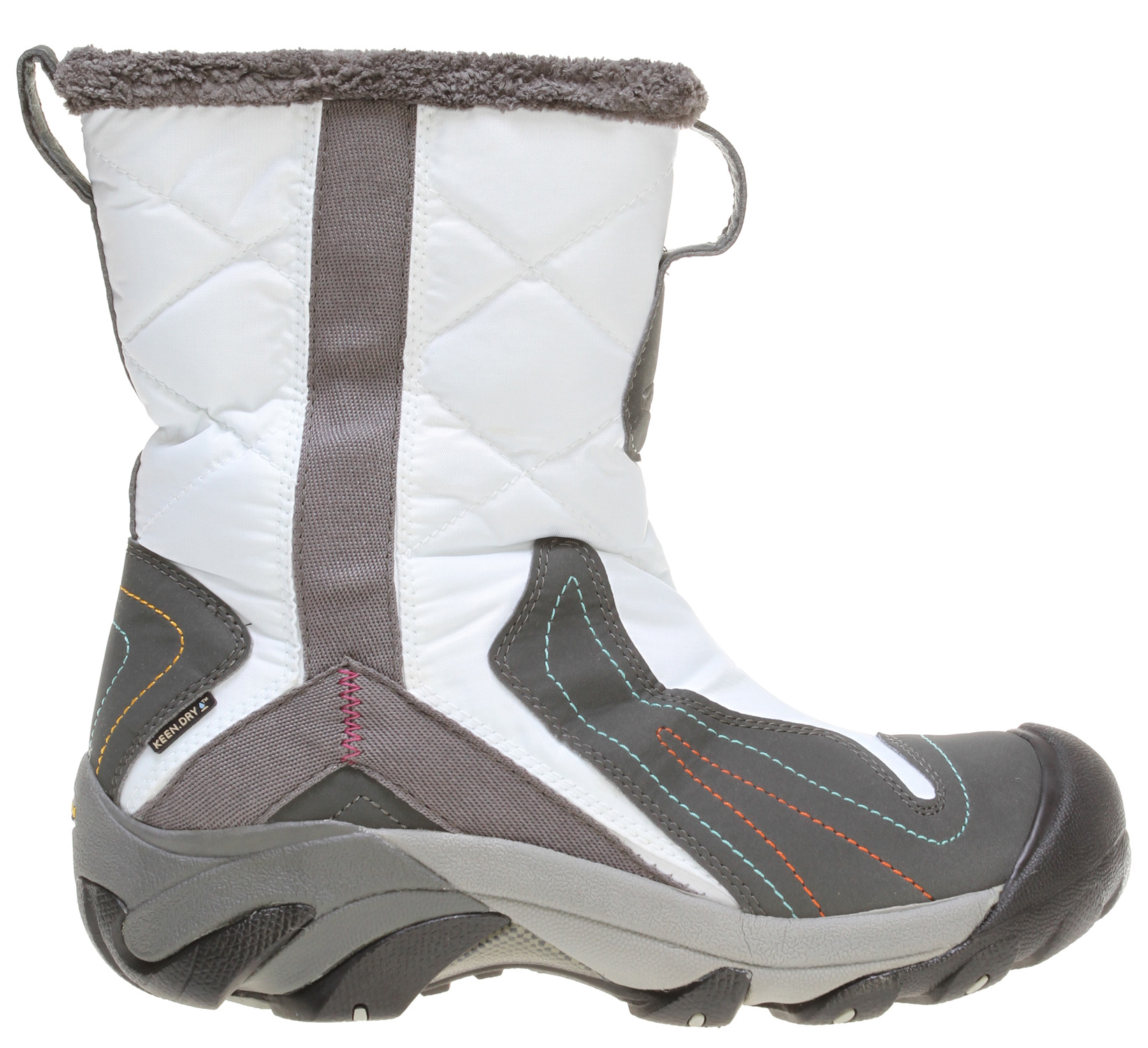 "Camp and Hike The Betty Boot from KEEN fuses performance with bright snow-bunny style. Using a women's specific design, the Betty Boot features KEEN.WARM insulation and KEEN.DRY waterproofing for maximum cold-weather protection with a feminine twist. Please note - the color way called Slate Black is actually a Brown.Key Features of the Keen Betty Boots: Weight: 19.21 oz / 546.909 grams Fit Tip: We find this style runs about a 1/2 size small. Lining: KEEN.DRY Waterproof membrane and microfleece Upper: Synthetic Rubber: Non-marking rubber outsole Collar Height: 10"" Calf Circumference: 12.5"" Activities: Hiking, City Streets, Snow Type: Boots: Cold - insulated, Wet - waterproof 200g KEEN.Warm insulation Abrasion resistant and breathable textile mesh upper Dual-density compression molded EVA midsole KEEN.DRY waterproof breathable membrane Microfleece lining Non-marking rubber outsole Patented toe protection S3 Heel support structure Thermal heat shield footbed Torsion stability ESS shank Waterproof medial zipper for easy on/off Women's specific design S3: Shock, suspension, stability - otherwise known as S3 - is engineered to support the foot on impact, dissipate shock and reduce your odds of twisting an ankle. KEEN.DRY: A proprietary waterproof, breathable membrane that lets vapor out without letting water in. KEEN.WARM: A lightweight insulation that keeps you warm. Who knew charcoal bamboo could create something that keeps your feet warm? But it makes KEEN.WARM a lightweight, anti microbial insulation that provides warmth where you need it most. THERMAL HEAT SHIELD FOOTBED: On the outside, wooly softness; in the middle, support cushioning; and inside, a thermal foil barrier to harness radiant heat. Keeps the cold out and the heat in. - $83.95"