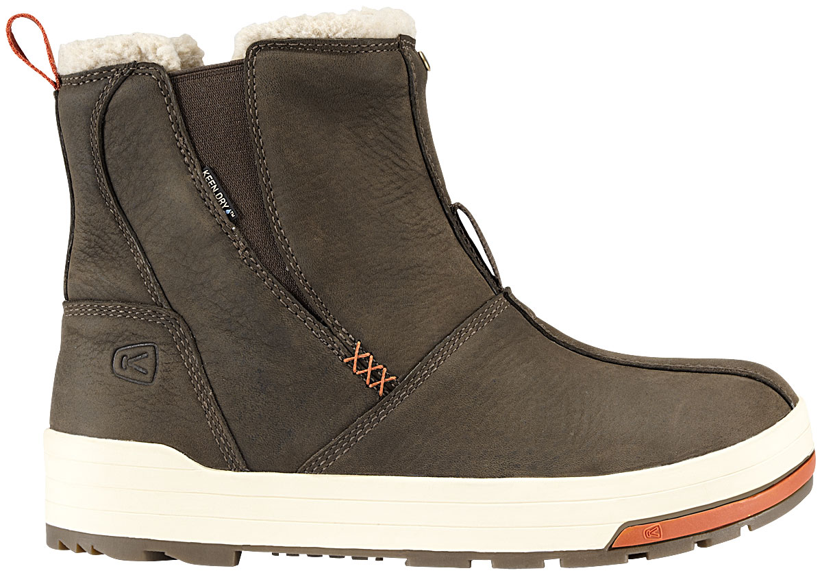 It isn't often that the world sees a casual shoe that has many of the features of a board shoe. The Keen Snowmass is a happy exception that features a dual climate, waterproofed design to hold out against whatever gets thrown at it. However, as a casual women's shoe, the Keen isn't something that is going to be as uncomfortable as other types of footwear. It's going to see you through the day without weighing you down.Key Features of the Keen Snowmass Mid Shoes:  Dual climate non-marking rubber outsole  Faux shearling lining  Gore elastic side panels for easy on/off  KEEN.DRY waterproof breathable membrane  Nubuck upper  Removable thermal heat shield footbed - $87.95