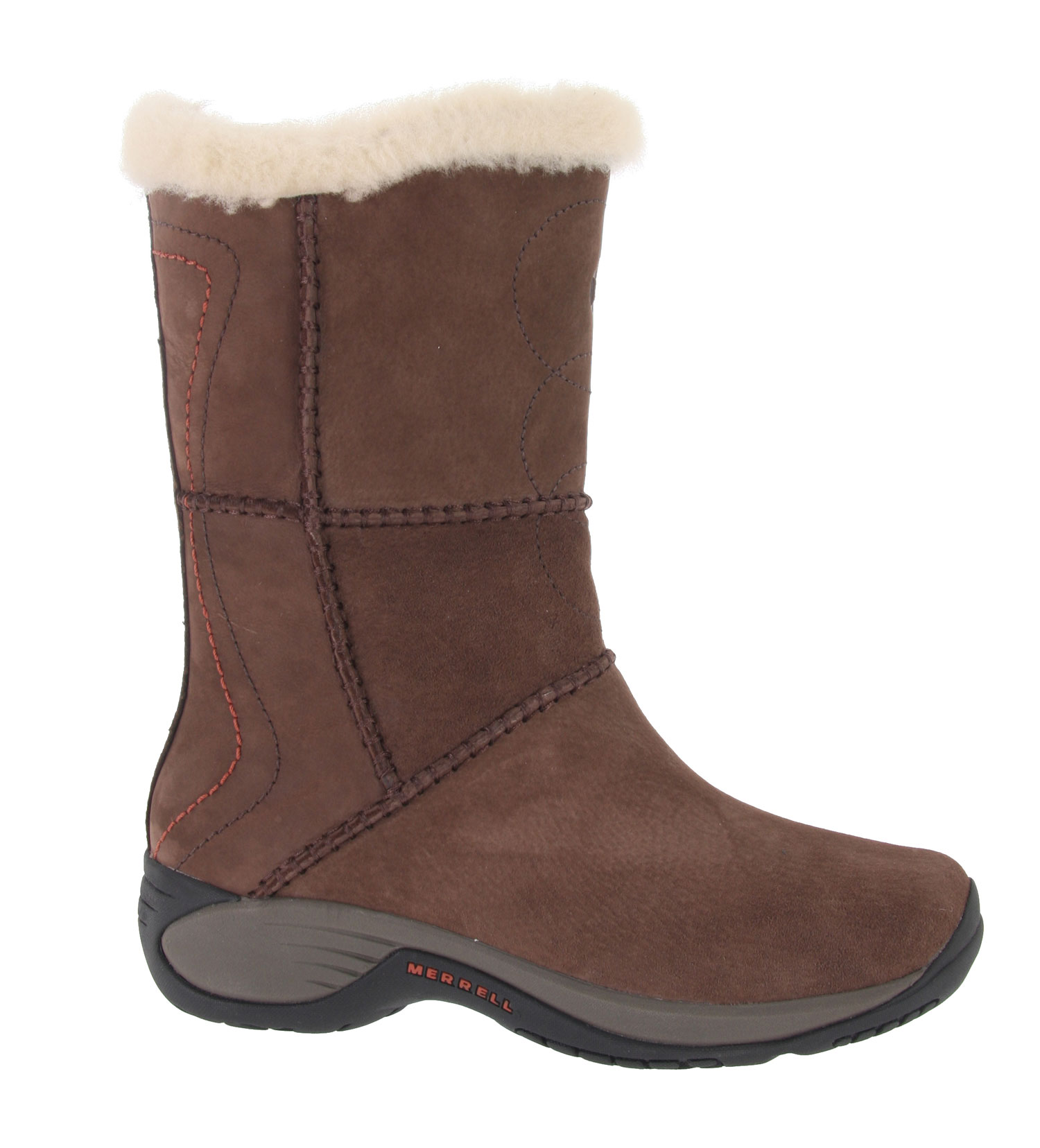 We up the ante on winter boot style and comfort with our Peak - an Encore comfort platform below the savory style of this water-resistant, handcraft stitched suede and nubuck upper, sheepskin collar and lining for plush warmth. A wool fleece footbed naturally manages moisture, and sits on top of a durable EVA QForm Comfort midsole that matches and catches your stride.Key Features of the Merrell Encore Peak Boots: Cement construction provides lightweight durability Pig suede and nubuck upper, water-resistant Sheepskin lining Wool fleece footbed Molded nylon arch shank QForm Comfort EVA Midsole provides women's specific stride-sequenced cushioning Merrell Air Cushion in the heel absorbs shock and add stability Merrell Encore 2 Sole/Sticky Rubber - $83.95
