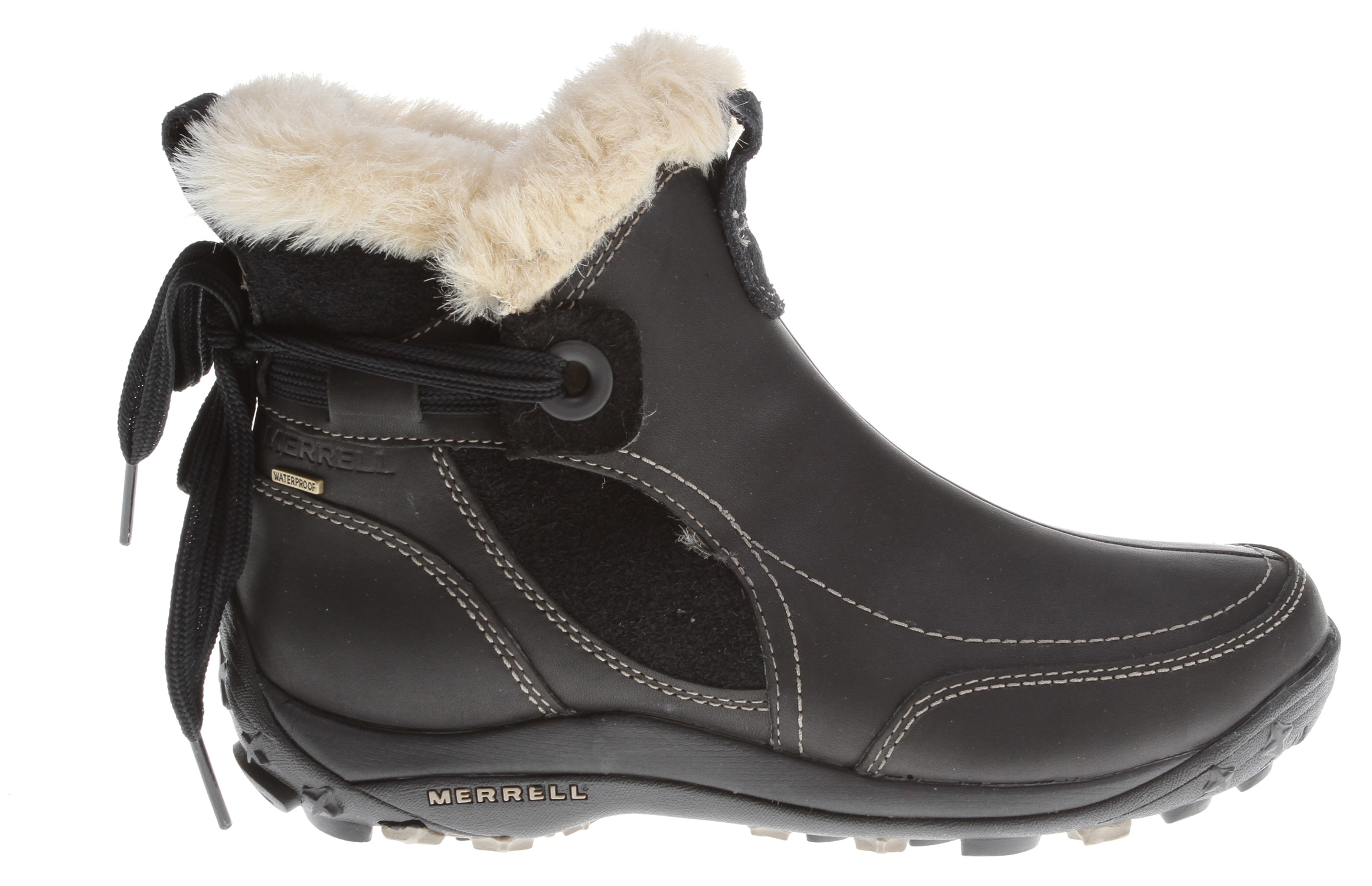 Indulge in the elixir of winter endlessly with this petite cold weather boot that's big on warmth. Its refined full grain leather and suede upper is WeatherTight and seam-sealed to prevent seeping, with a Thinsulate low-bulk barrier, 200 grams of Primaloft insulation and a faux-fur lining to boot. Supportive cushioning below guarantees good times.Key Features of the Merrell Misha Mid Waterproof Boots: Cement construction provides lightweight durability Suede waterproof leather upper Waterproof membrane provides impermeable but breathable barrier Merrell Conductor Fleece provides lightweight, versatile heat retention in varying conditions 200 grams of PRIMALOFT insulation treated with antimicrobial solution OrthoLite anatomical footbed Molded nylon arch shank Merrell Air Cushion in the heel absorbs shock and adds stability Merrell QFORM comfort midsole provides women's specific-sequenced cushioning Merrell Snow De Vie Sole/sticky rubber Women's Weight: 1 lb 10 ozs - $97.95