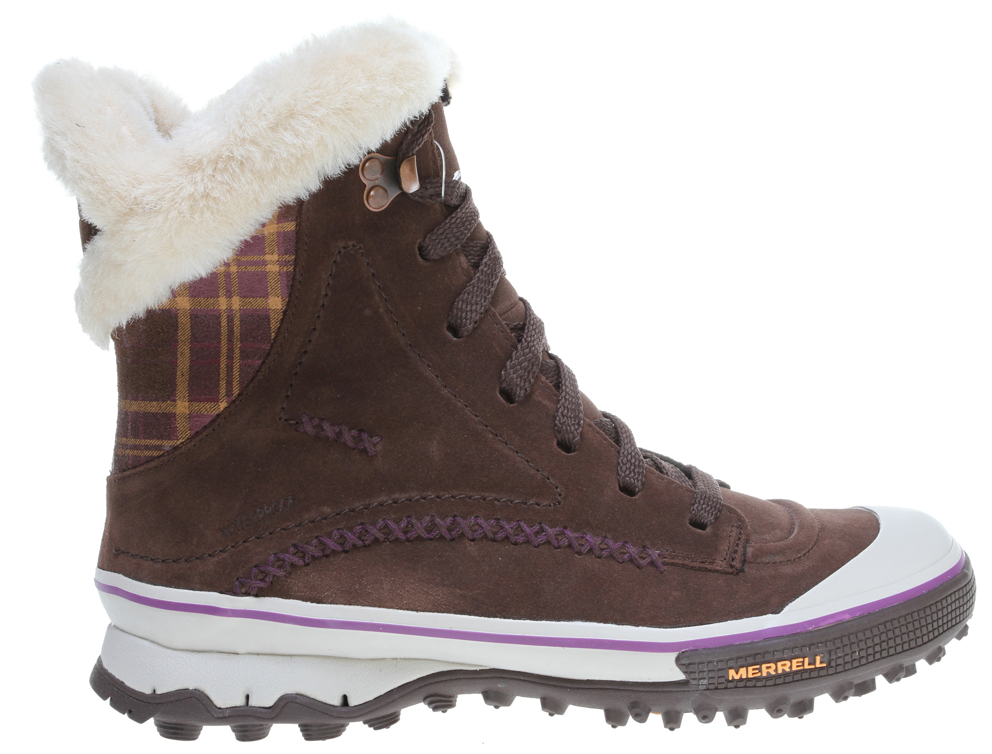"With just enough plaid to make you feel ""rad,"" these Merrell Weather-Tight winter lace-up boots are seriously fun stormy weather protection. Waterproof suede uppers insulated with lightweight, low-bulk synthetic Merrell Opti-Warm won't weigh you down. The extra-deep 5mm sole lugs provide enough traction for skipping if the mood (or gusts) move you.Key Features of the Merrell Pixie Lace Waterproof Boots: Cement construction provides lightweight durability Waterproof suede and fabric upper Merrell Weather-Tight construction provides a water resistant barrier 200 grams of Merrell Opti-Warm lightweight, low-bulk, synthetic insulation keeps you warm EVA removable footbed Molded nylon arch shank Merrell Pixie Sole/Sticky Rubber 5 mm sole lug depth - $86.95"