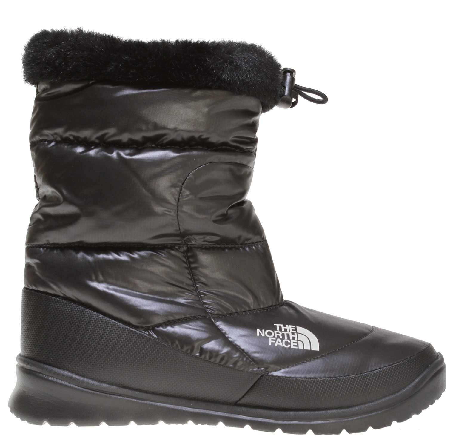 An everyday, everywhere winter boot with an adventurous style and durability you expect with The North Face, this down-insulated lace-up is a winter-time favorite. Insulated with a plush 600 fill down, this popular boot includes a cozy faux fur lining and a DWR (durable water repellent) finish at exterior for extra weather-resistance. Updated for 2010 with new quilting lines.Key Features of The North Face Nuptse Fur IV Boots: 100% recycled P.E.T. ripstop upper with DWR (durable water repellent) finish 600 fill power down insulation 100% recycled P.E.T. faux fur trim Abrasion-resistant synthetic mudguard Compression-molded, Ortholite Northotic footbed for enhanced comfort Cut-and-buff EVA midsole Durable TNF Winter Grip rubber outsole with Ice Pick temperature-sensitive snowflake lugs - $62.95