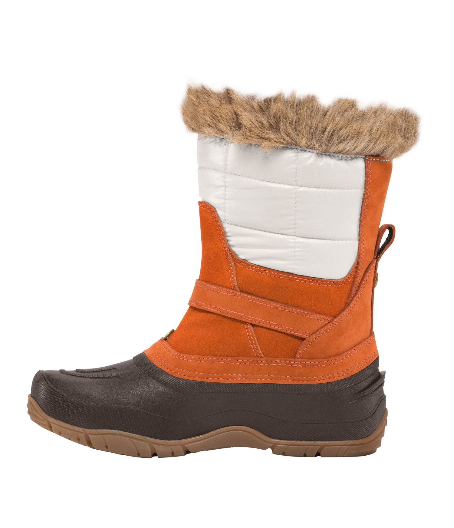Designed specifically for women and ideal for icy commutes, an easy pull-on warm and waterproof boot made with performance materials and fashion-forward style.Key Features of The North Face Shellista Pull On Boots: Durable, water-resistant, 100% recycled PET ripstop shaft detail Waterproof, BLC-compliant full-grain and suede lather upper trims Cemented and seam-sealed waterproof construction 200g PrimaLoft Eco insulation Faux fur collar detail Anatomically engineered, injection-molded, waterproof TPR shell with forefoot flex grooves Dual-density internal midsole with three-quarter-length nylon shank Durable TNF Winter Grip rubber outsole base with IcePick temperature-sensitive lugs for superior winter traction - $97.95