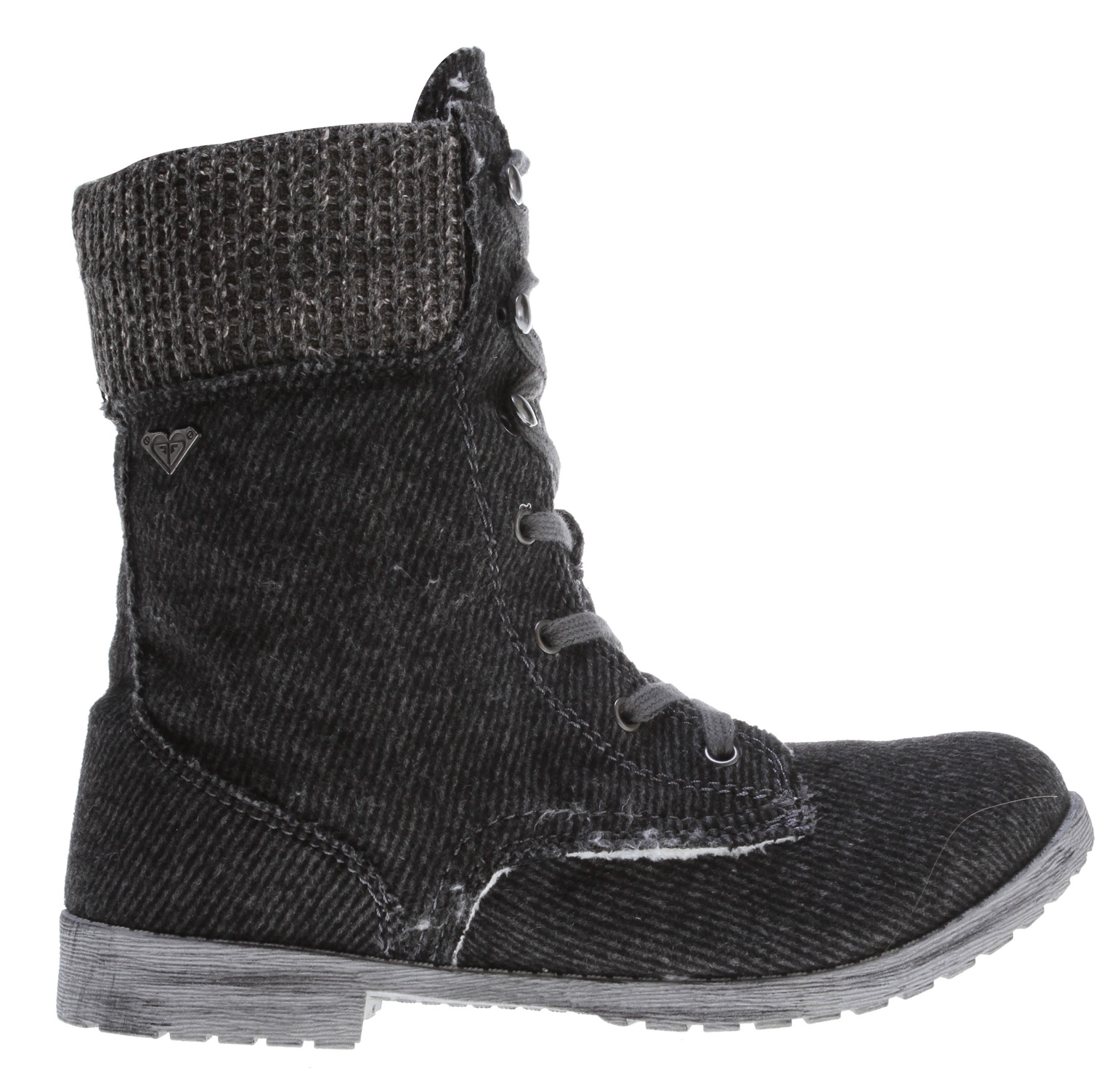 Surf Key Features of the Roxy Denver Boots: wool upper with sweater knit collar interior side zipper soft cotton laces with metal hooks and eyelets metal logo pin cozy faux fur upper and footbed lining padded insole flexible TPR injected outsole boxed - $68.00