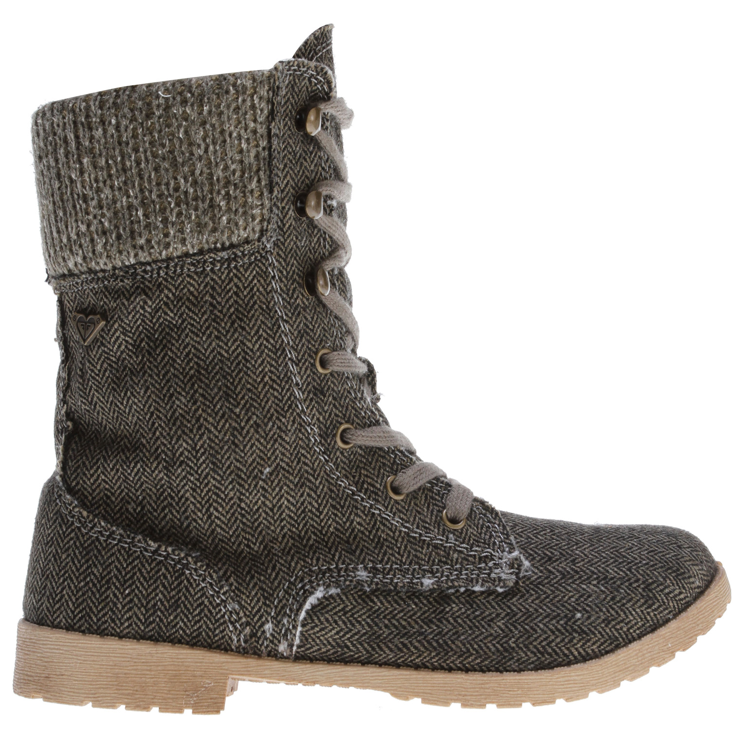 Surf Key Features of the Roxy Denver Boots: wool upper with sweater knit collar interior side zipper soft cotton laces with metal hooks and eyelets metal logo pin cozy faux fur upper and footbed lining padded insole flexible TPR injected outsole boxed - $47.95