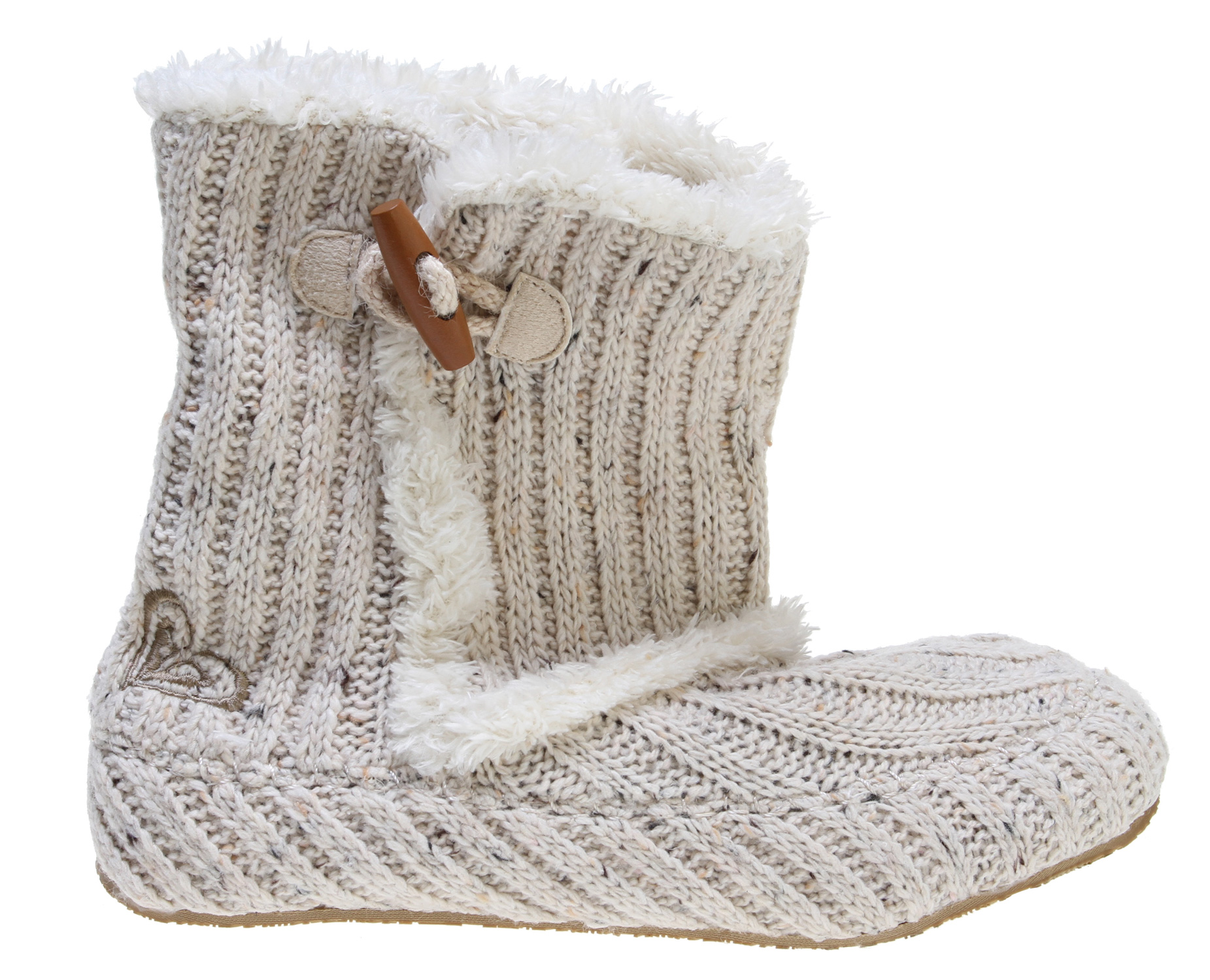 Surf Key Features of the Roxy BRR! Casual Boots: Soft knit upper with rope and wood toggle detail Embroidered Roxy heart Cozy faux fur trim, lining and insole Padded insole for comfort Durable indoor/outdoor outsole - $43.95