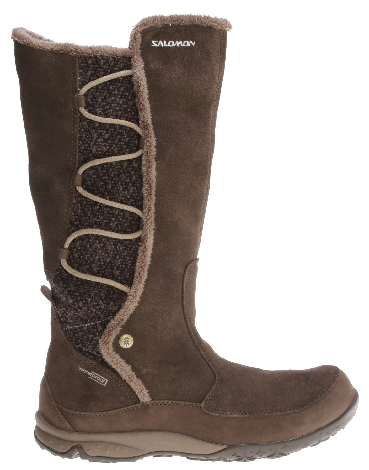 Camp and Hike Soft, cozy, knee high boot that is waterproof, a blanket for your feet during cold winter weather.Key Features of the Salomon Emmy WP Hiking Shoes: Zipper Waterproof split suede leather Wool rib Women's specific last Thinsulate 200gr lining Waterproof bootie construction - $104.95