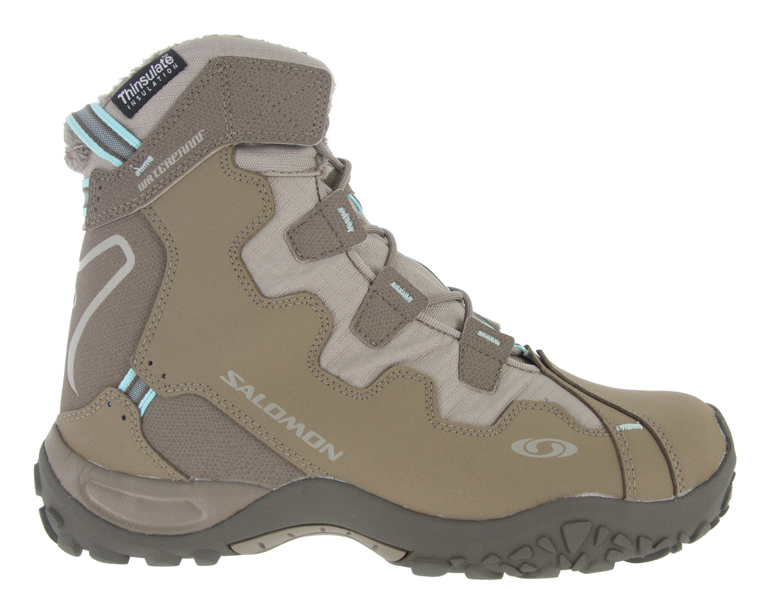 Camp and Hike This stylish boot with touches of leather and varying textures is warm and waterproof with a Thinsulate layer. Key Features of the Salomon Snowtrip TS Casual Boots Thyme/Marjorum/Aqua: Optimized fit specifically for women. Upper features heel foam, synthetic suede, and gusseted tongue. Thinsulate 200g lining offers warmth and comfort - lightweight, moisture-resistant, and breathable. Synthetic fur lining and waterproof membrane. Non-marking Contagrip outsole Molded EVA midsole and die cut EVA sockliner. Weight: 1 lb. 4 oz. (pair). - $74.95