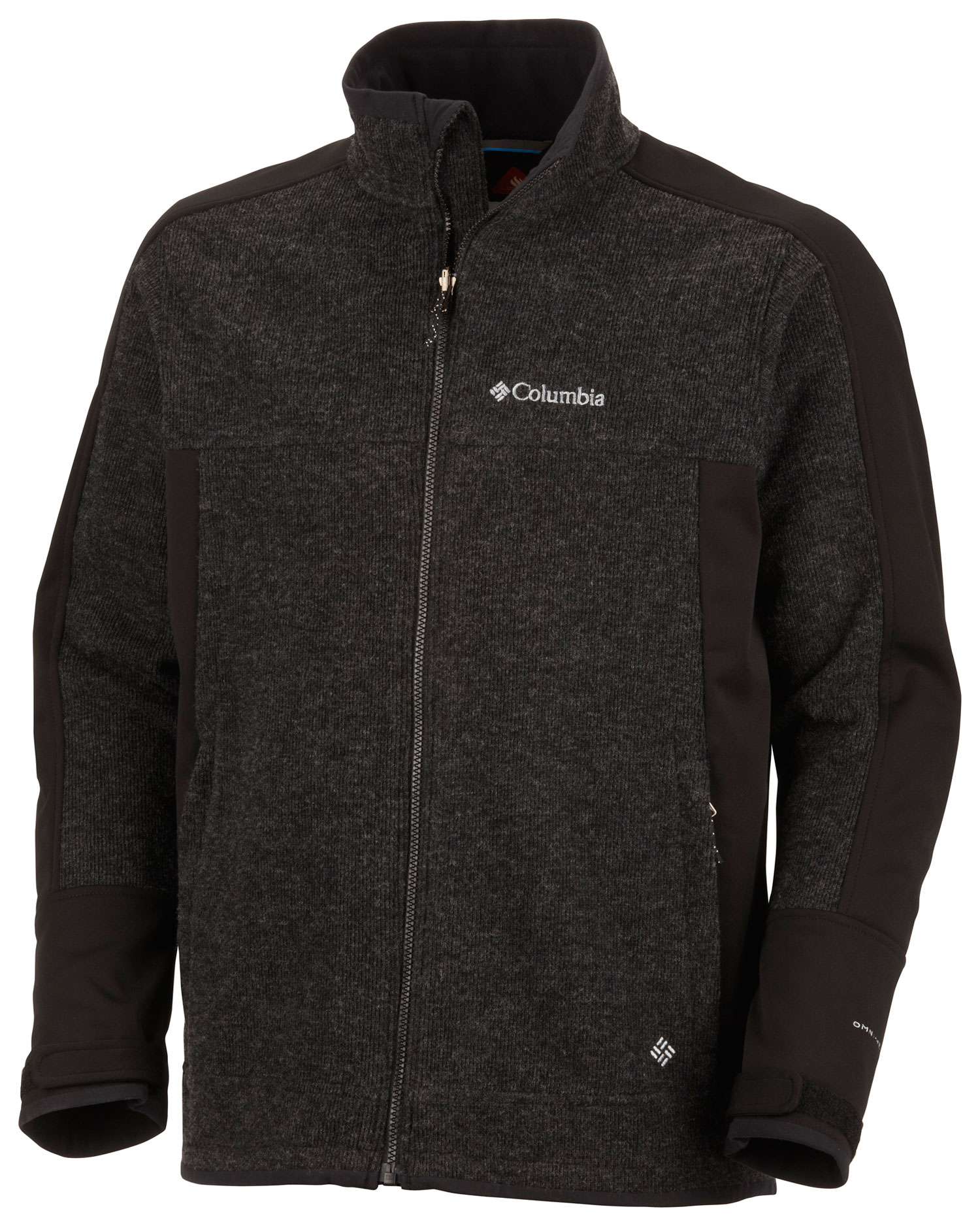 Key Features of the Columbia Grade Max Softshell Jacket: FABRIC Shell: 43% wool/39% polyester/18% nylon, 100% polyester windblock. Lining: 100% polyester Thermal Reflective. FIT Modern Classic Omni-Wind Block windproof Omni-Heat thermal reflective Omni-Shield advanced repellency Zip-in and 3-point Interchange System Zip-closed pockets Adjustable cuff tabs - $119.95