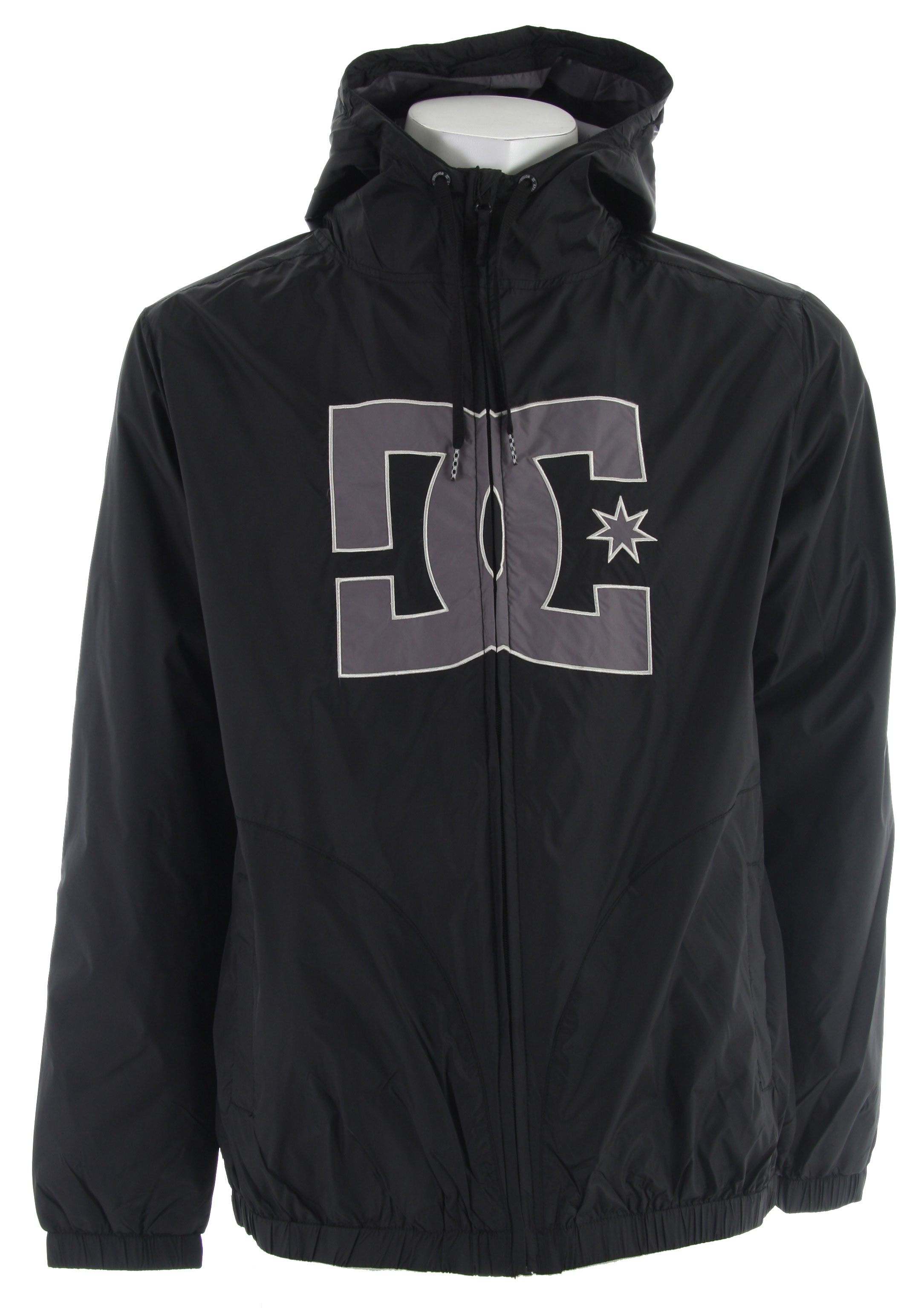 Key Features of the DC Burnham Jacket: Hooded lightweight jacket/windbreaker WR and PU coating Contrast applique in front center Front welt pockets 100% polyester shell - $33.95