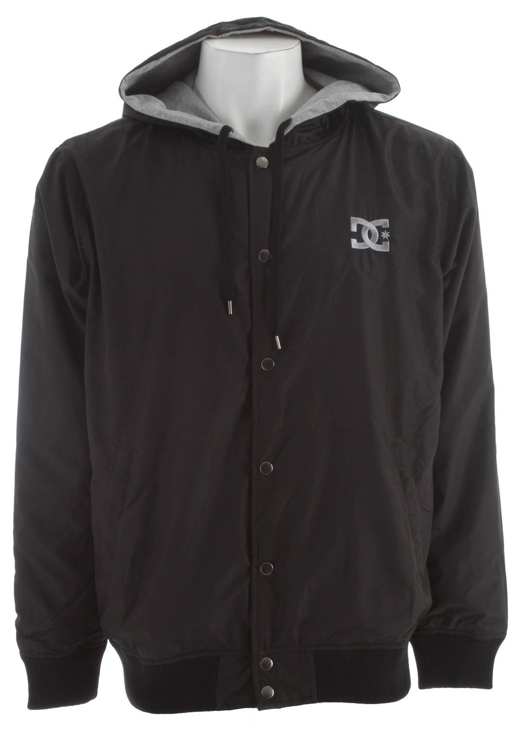Key Features of the DC Jay Varsity Jacket; Regular fit. DC logo embroidery at left chest. Drawstring hood. Pouch pockets. Snap button closure. 60% cotton/40% polyester - $49.95