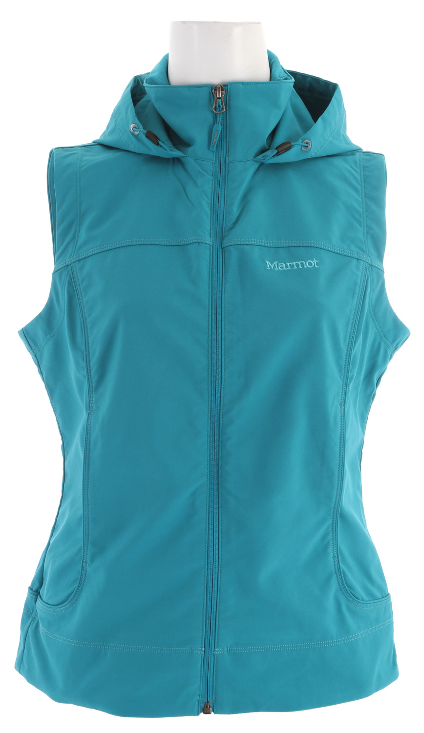 Key Features of the Marmot Summerset Vest: Marmot M3 Softshell Water Repellent and Breathable 4-Way Stretch Fabric Attached Adjustable Hood Zippered Handwarmer Pockets Rib Knit Collar Sized Specifically for Women Weight 1 lb 4.1 oz (569.8g) Materials: Softshell Double Weave 88% Polyester/ 12% Elastane Stretch 6.6 oz/ yd Center Back Length: 24.13 in Fit: Regular Fit - $70.95