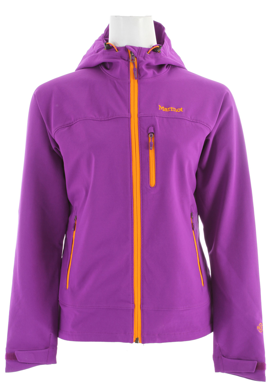 "A perfect layer for spring and fall, when comfort is key, and lightweight softshell performance is just what the doctor ordered. Sized and cut for the female form, with thoughtful features throughout. Handwarmer pockets employ concealed zippers, and reflective logos and cuffs shine brightly on dark nights.Key Features of the Marmot Tempo Hoody Jacket: Marmot M3 Softshell Water Repellent and Breathable - Ideal for Aerobic Activity and Sheds Water Handwarmer Pockets with Concealed Zippers Sleeve Pocket with Concealed Zipper Reflective bound Cuffs Reflective Logos Angel-Wing Movement - Allows Full Range of Motion in Arms so Jacket Doesn't Ride Up 24 1/2"" Center Back Length for Size Medium Center Back Length: 24.5in / 62.2cm Weight: 10.2 oz / 289.2 g Main Material: Softshell Double Weave 90% Polyester 10% Elastane Stretch 7.3 oz/yd - $91.95"