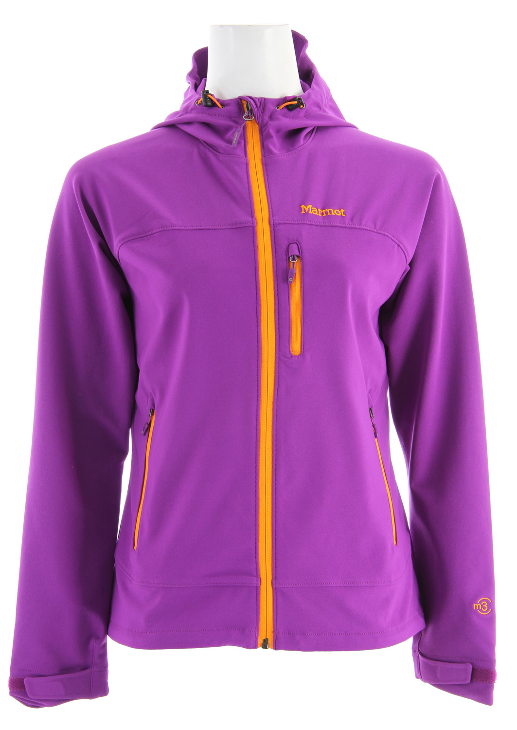 "A perfect layer for spring and fall, when comfort is key, and lightweight softshell performance is just what the doctor ordered. Sized and cut for the female form, with thoughtful features throughout. Handwarmer pockets employ concealed zippers, and reflective logos and cuffs shine brightly on dark nights.* Marmot M3 Softshell * Water Repellent and Breathable - Ideal for Aerobic Activity and Sheds Water * Handwarmer Pockets with Concealed Zippers * Sleeve Pocket with Concealed Zipper * Reflective bound Cuffs * Reflective Logos * Angel-Wing Movement - Allows Full Range of Motion in Arms so Jacket Doesn't Ride Up * 24 1/2"" Center Back Length for Size Medium * Center Back Length: 24.5in / 62.2cm * Weight: 10.2 oz / 289.2 g * Main Material: Softshell Double Weave 90% Polyester/10% Elastane Stretch 7.3 oz/yd - $91.95"