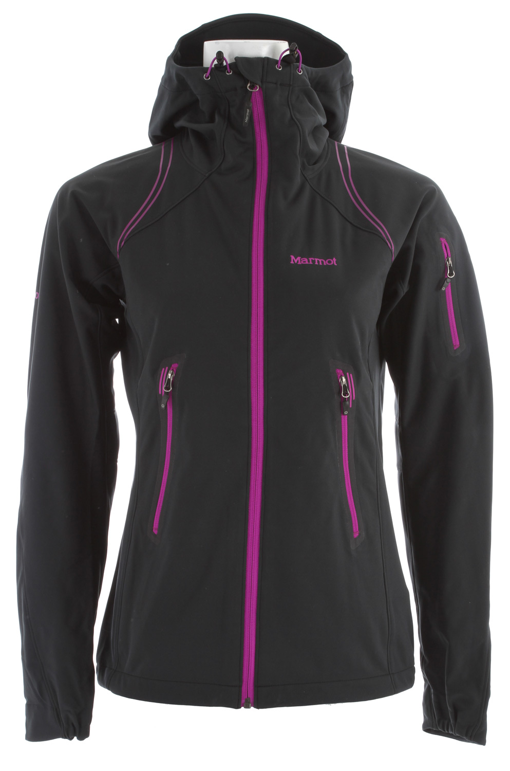 Key Features of the Marmot Vapor Trail Hoody Jacket: Weight 0lbs 14.5oz (411.1g) Materials Softshell WPB 100% Polyester Stretch 4.4oz/yd Softshell Bonded 100% Polyester Stretch 3.8 oz/yd Center Back Length 27.25in Athletic Fit Marmot M2 Softshell Water Repellent and Breathable Attached Adjustable Hood Windproof Body and Sleeves Breathable Side Panels and Back Pack Pockets Zip Sleeve Pocket Asymmetric Cuffs Internal Zippered Media Pocket Elastic Draw Cord Hem Angel-Wing Movement - $105.95