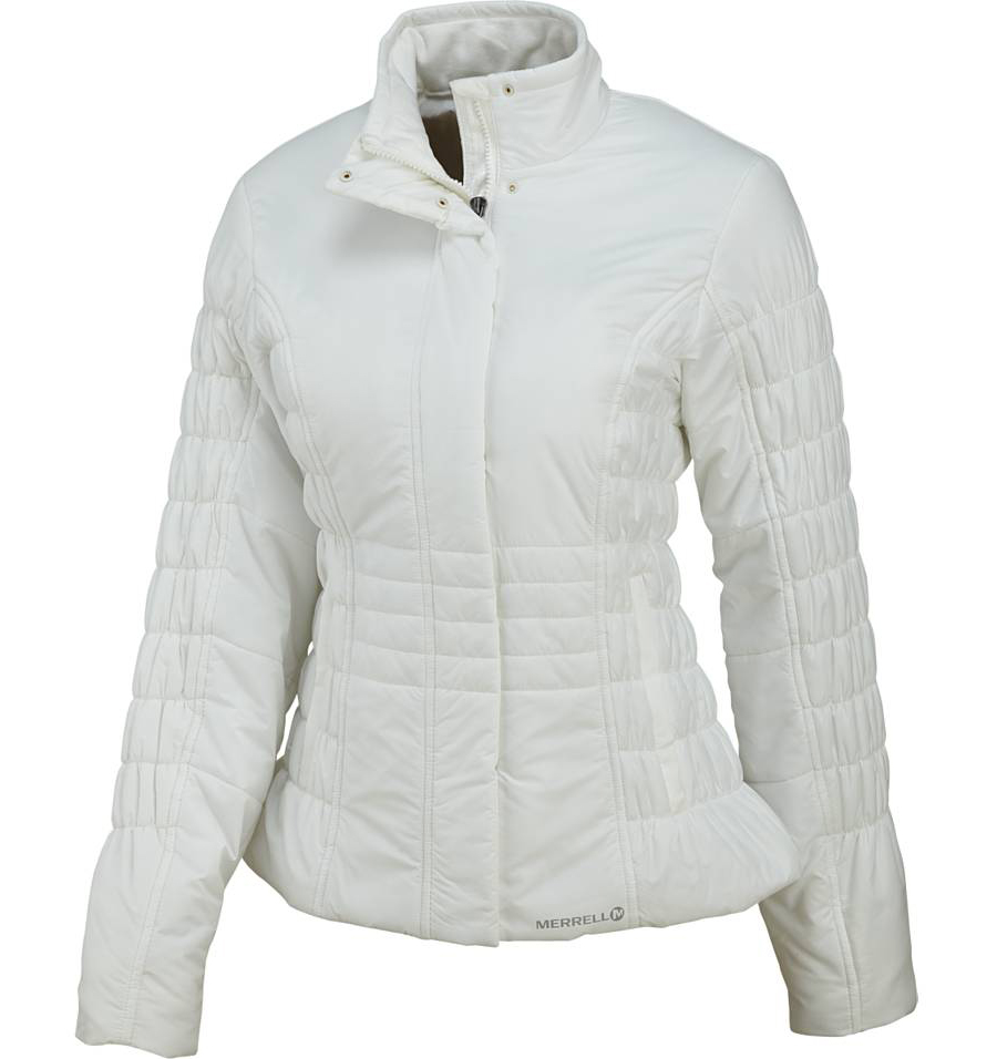 "Cold days can't stop you from hitting the town or the sledding hill with the Merrell Odessa jacket. Its fleece-lined high collar and stylish sheen from the water-resistant, ripstop fabric give it a metropolitan flair, while its Opti-Warm insulation keeps you cozy. Fleece/Lycra collar and cuffs seal in the heat.Key Features of the Merrell Odessa Jacket: Merrell Opti-Warm lightweight, low-bulk, synthetic insulation keeps you warm Merrell N.A.D.A. dye-free colorway 100% nylon DWR finish 100 g (body), 80 g (sleeves) Insulation Cire fabric Dual zip-secure hand pockets Fleece lined collar Floral embossed liner Hidden inside zip-secure chest pocket High collar adds fashionable look 25"" CBL (size medium) - $129.95"