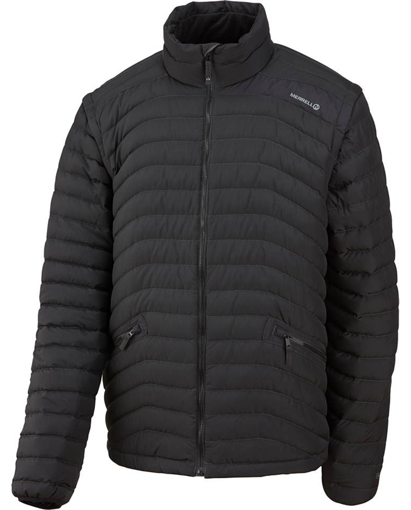 "You'll want to make sure this versatile down tech layer makes it into your pack for reliable, lightweight warmth and comfort. Convert it to a vest with subtle zip-off sleeves with concealed zippers. Its 800 fill premium goose down delivers optimal heat regulation in varying conditions.Key Features of the Merrell Thermadore Jacket: 30 Denier 100% nylon micro ripstop (lining), 38 Denier 100% polyester (shell) Heathered down-proof fabric with DWR finish 800 fill premium goose down Fleece interior collar and cuffs Sleeves zip off for stylish and functional vest and core warmth Tricot lined chin offers soft face protection in cold 28"" CBL (size large) - $129.95"