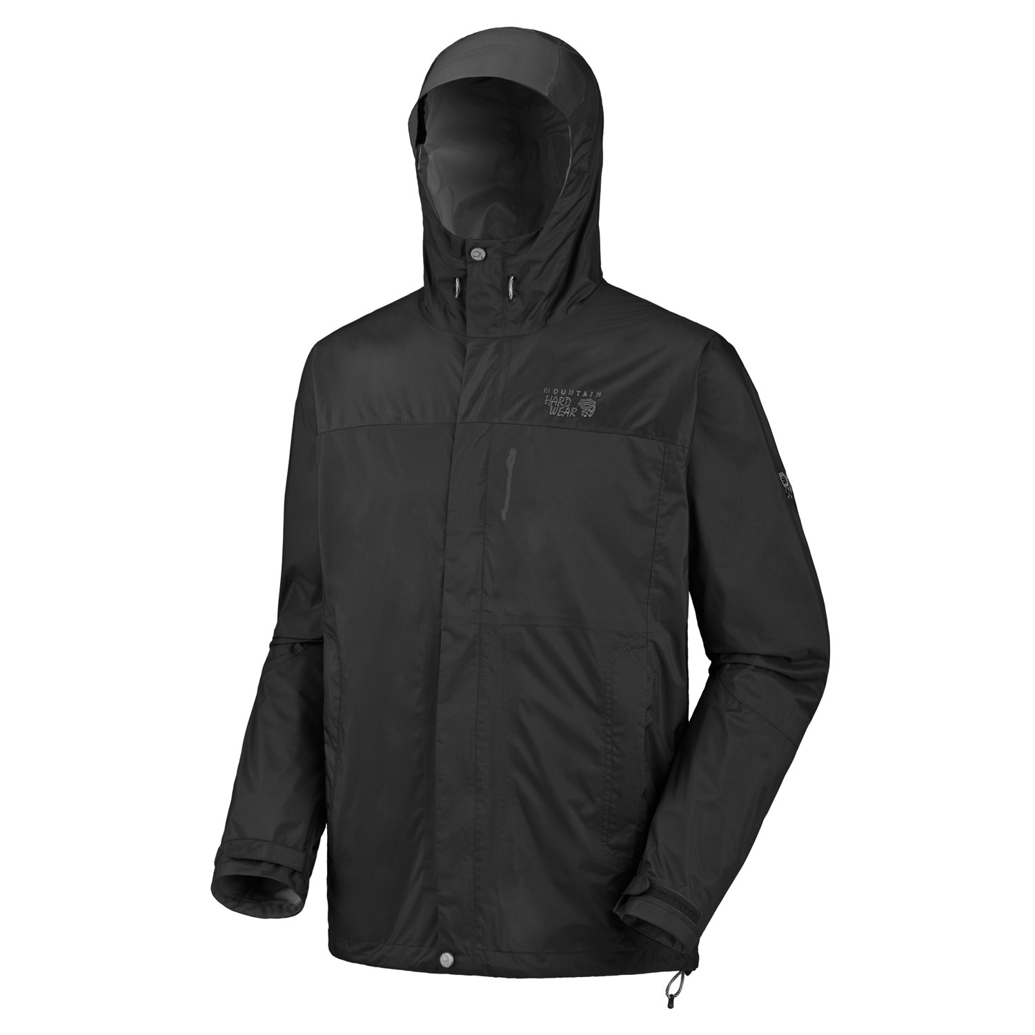 "Key Features of the Mountain Hardwear Epic Rain Jacket: Avg. weight: 14oz; 395g Center back length: 29"" Fabric: body: Epic 2.5L (100% nylon) DryQ Elite: 100% waterproof, most breathable, air-permeable, no-wait comfort Attached hood with extra-beefy brim for added protection against the elements Pit zips Micro-Chamois - lined chin guard eliminates zipper chafe Dual hem drawcords for quick fit adjustments Adjustable Velcro cuffs for quick fit adjustments - $69.95"