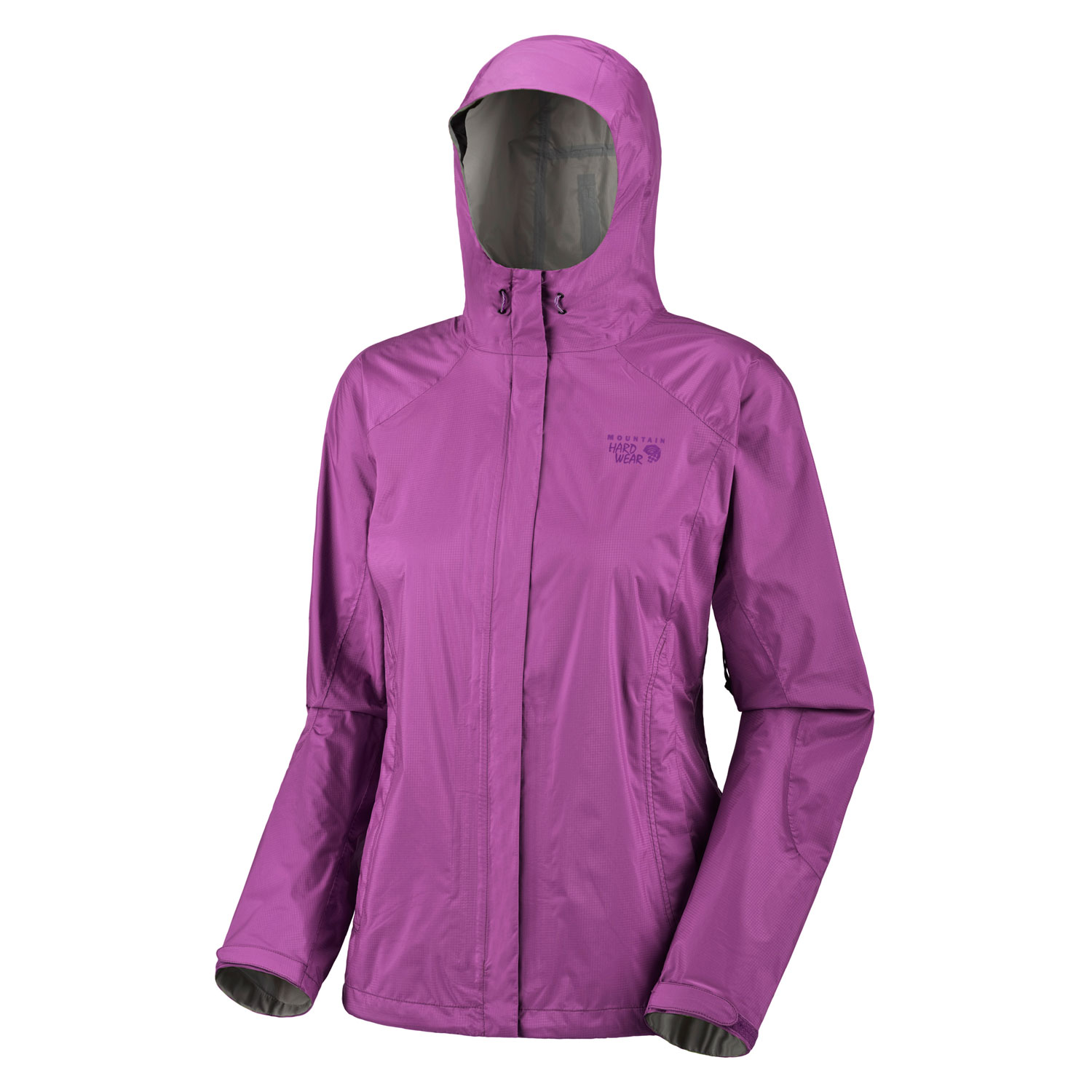 "Key Features of the Mountain Hardwear Epic Rain Jacket: Avg. weight: 12oz; 348g Center back length: 26.5"" Fabric: body: Ark Ripstop 2.5L (100% nylon) DryQ Elite: 100% waterproof, most breathable, air-permeable, no-wait comfort Attached hood with extra-beefy brim for added protection against the elements Pit zips Micro-Chamois - lined chin guard eliminates zipper chafe Dual hem drawcords for quick fit adjustments Adjustable Velcro cuffs for quick fit adjustments - $69.95"