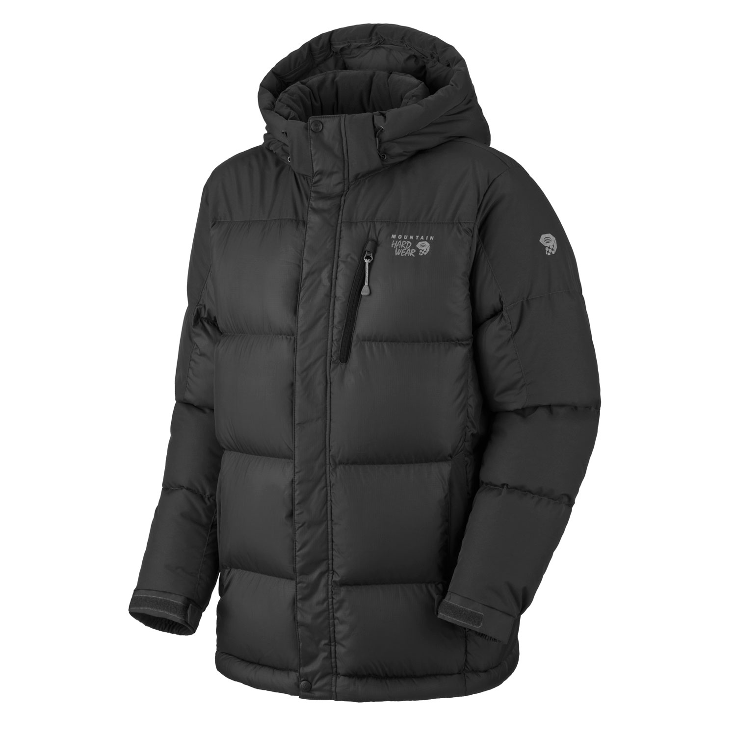 "Key Features of the Mountain Hardwear Hunker Down Parka Down Jacket: Avg. weight: 1 lb 15 oz; 870g Center back length: 32"" Fabric: body: 50D Rip (100% polyester) insulation: 650-Fill Goose Down Insulated with lofty and warm 650-fill goose down Abrasion-resistant reinforcement panels on the shoulders and arms combat wear and tear Zip-off insulated hood Fleece-lined handwarmer pockets Adjustable cuffs for fit options Dual hem drawcords for quick fit adjustments Interior zip pocket stores ID, keys, other small essentials Micro-Chamois - lined chin guard prevents zipper chafe - $160.95"