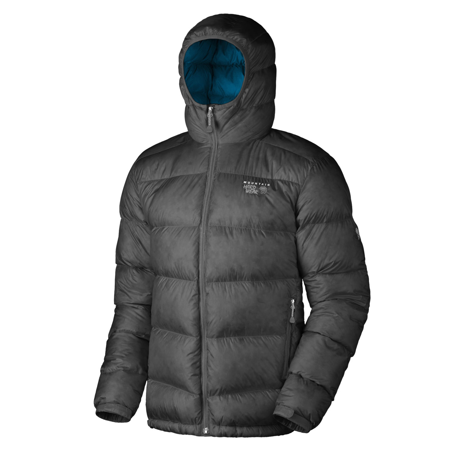 "Key Features of the Mountain Hardwear Kelvinator Hooded Down Jacket: Avg. weight: 1 lb 3 oz; 548g Center back length: 30"" Fabric: body: 20D Rip (100% nylon) insulation: 650-Fill Goose Down Two front handwarmer pockets Dual hem drawcords seal in warmth Full elastic cuffs slide easily over layers to seal in warmth Low profile, insulated hood Micro-Chamois - lined chin guard prevents zipper chafe Stuff sack included - $174.95"