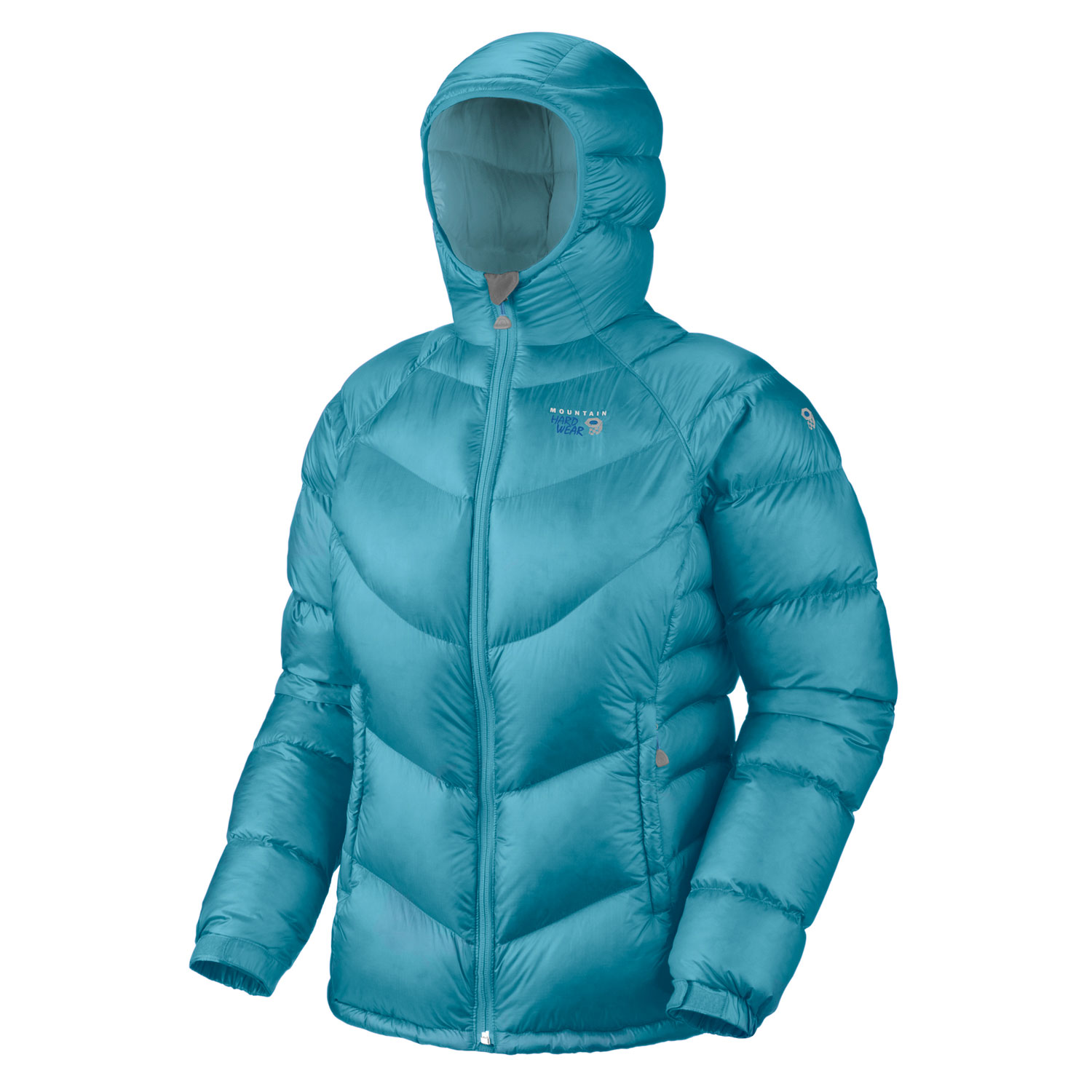 "Key Features of the Mountain Hardwear Kelvinator Down Jacket: Avg. weight: 16oz; 446g Center back length: 27"" Fabric: body: 20D Rip (100% nylon) insulation: 650-Fill Goose Down Two front handwarmer pockets Dual hem drawcords seal in warmth Full elastic cuffs slide easily over layers to seal in warmth Low profile, insulated hood Micro-Chamois - lined chin guard prevents zipper chafe Stuff sack included - $182.95"