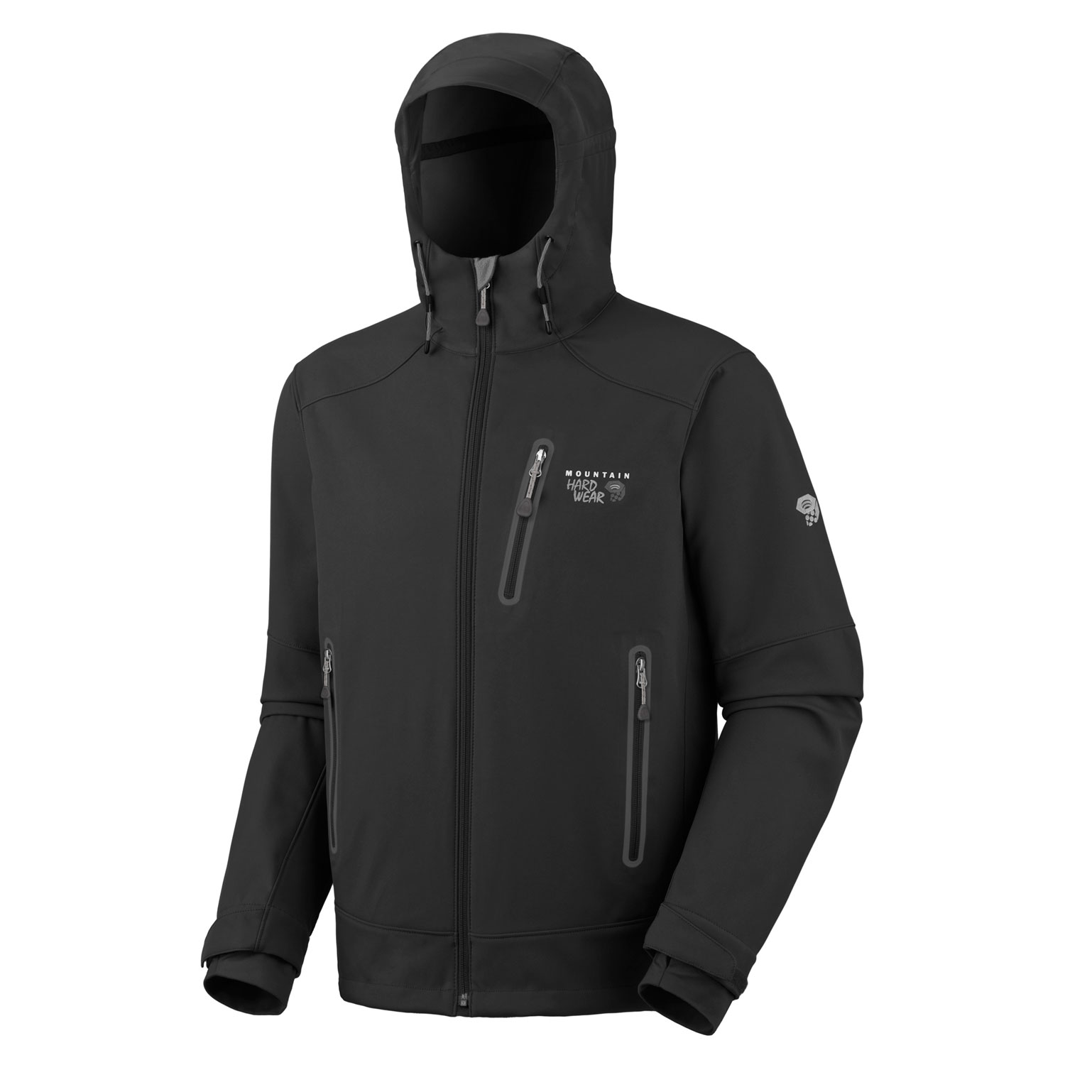 "Key Features of the Mountain Hardwear Mercurial Softshell Jacket: Avg. weight: 1 lb 6 oz; 620g Center back length: 29"" Fabric: Motivity Soft Shell (100% polyester) Attached, helmet-compatible hood with single-handed drawcord for quick fit adjustments Chest-high hand pockets accommodate a harness or pack Internal cuff with adjustable tab Two front handwarmer pockets One-handed hem drawcord seals in warmth - $125.95"
