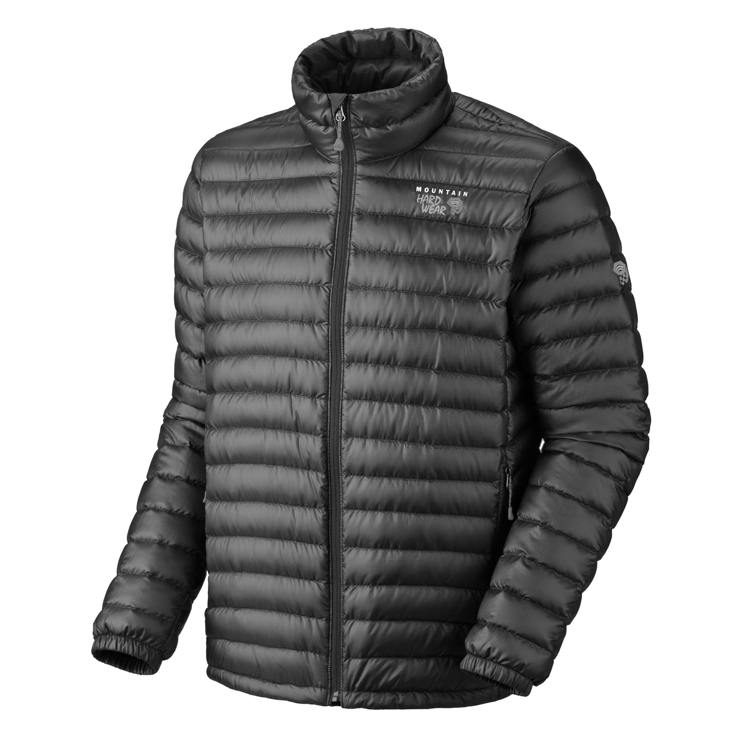 "Key Features of the Mountain Hardwear Nitrous Down Jacket: Avg. weight: 13oz; 355g Center back length: 28"" Fabric: body: Sensor Ripstop (100% polyester) insulation: 800-Fill Goose Down New design Quilted construction holds insulation in place Two front handwarmer pockets Dual hem drawcords seal in warmth Full elastic cuffs slide easily over layers to seal in warmth Micro-Chamois - lined chin guard prevents zipper chafe DWR finish repels water - $174.95"