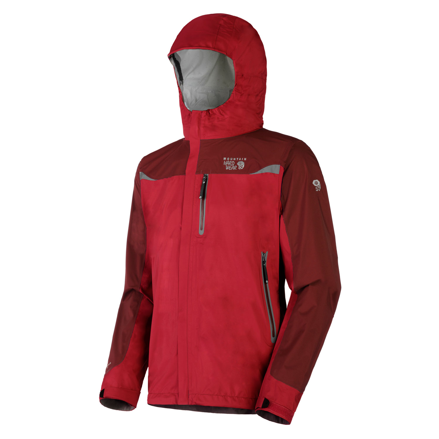 "Key Features of the Mountain Hardwear Stretch Cohesion Tech Shell Jacket: Avg weight: 13oz; 370g Center back length: 30"" Fabric: Ark Stretch 30D 2.5 Layer (100% nylon) All over stretch for comfort and freedom of movement Attached, roll-way Ergo hood fits over helmet, single-handed drawcord for quick adjustments Pit zips for ventilation Cuff tabs and hem drawcords for quick fit adjustments Micro-Chamois - lined chin guard eliminates zipper chafe - $118.95"