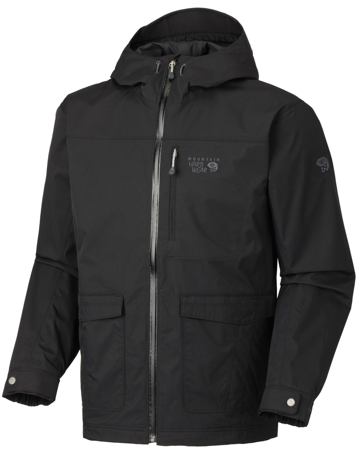 "Key Features of the Mountain Hardwear Ulster Jacket: Dual-entry cargo pockets and zippered chest pocket Attached, adjustable hood Dual hem drawcords seal in warmth Micro-Chamois-lined chin guard prevents zipper chafe Adjustable cuffs Avg Weight: 1 lb. 9 oz.; 705 g. (size large) Center Back Length: 30""; 76 cm. Fabric: Body Maltania Twill (100% nylon) Laminate Conduit - $127.95"