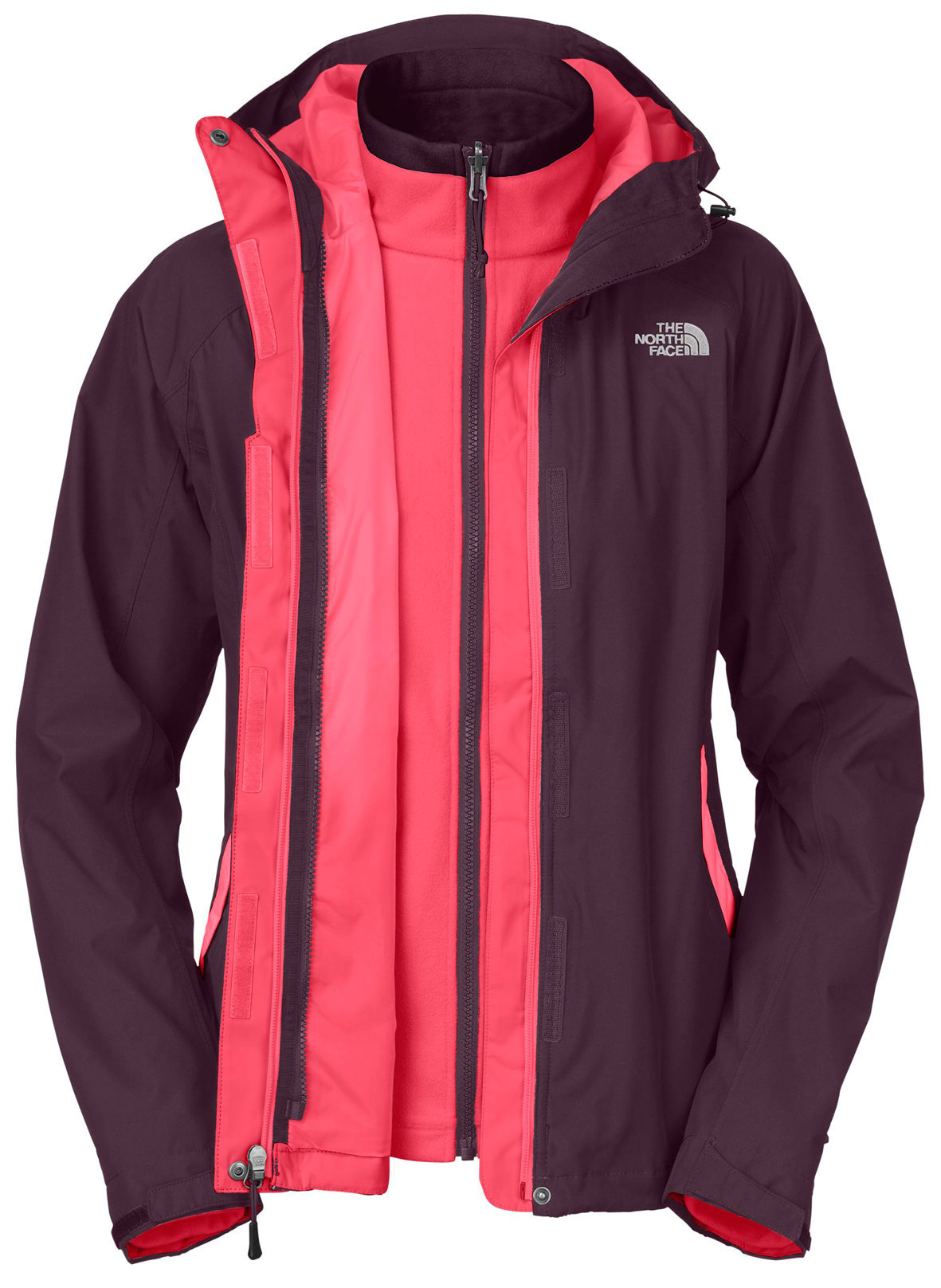 Key Features of The North Face Evolve Triclimate Jacket: Fabric: body: 75D 110 g/m2 (3.19 oz/yd2) 100% polyester HyVent® 2L Triclimate® insulation: 100 g micro-fleece TBD. Waterproof, breathable, seam sealed Attached, fully adjustable hood Zip-in compatible Brushed collar lining for comfort Center front double storm flap with zip and Velcro® closure Two hand pockets Self fabric cuff tabs Hem cinch-cord [TRICLIMATE® ] 100 g fleece Two hand pockets - $149.95