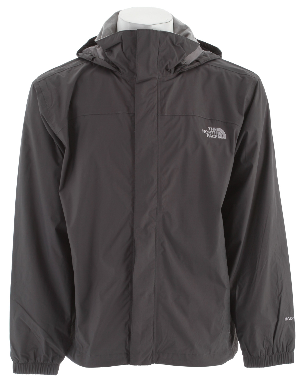Mesh-lined, waterproof, breathable, seam-sealed jacket equipped for hard play in the worst weather. Key Features of the The North Face Resolve Jacket: Fabric: body: 70D 105 g/m2 (3.1 oz/yd2) nylon ripstop HyVent 2L Lining: mesh knit Standard fit Waterproof, breathable, seam sealed Mesh lined Brushed collar lining Adjustable hood stows in collar Center front zip and Velcro closure Two hand pockets Hem cinch-cord - $90.00