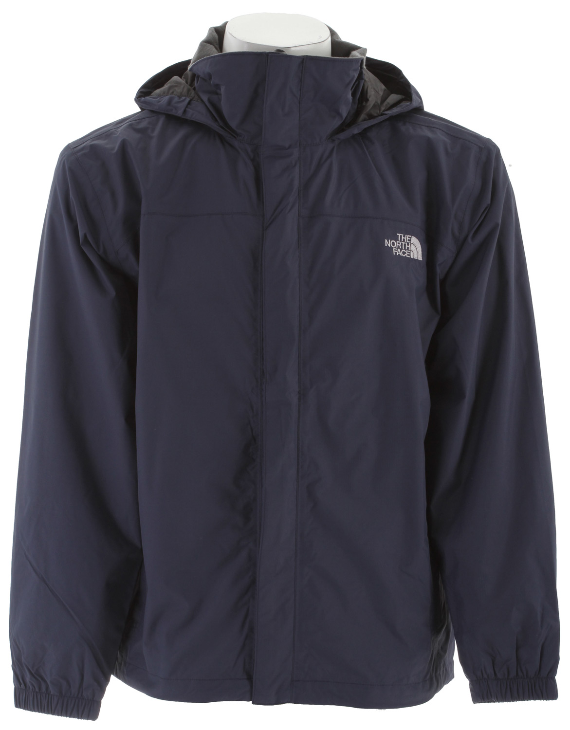 Mesh-lined, waterproof, breathable, seam-sealed jacket equipped for hard play in the worst weather. Key Features of the The North Face Resolve Jacket: Fabric: body: 70D 105 g/m2 (3.1 oz/yd2) nylon ripstop HyVent® 2L lining: mesh knit Standard fit Waterproof, breathable, seam sealed Mesh lined Brushed collar lining Adjustable hood stows in collar Center front zip and Velcro® closure Two hand pockets Hem cinch-cord - $62.95