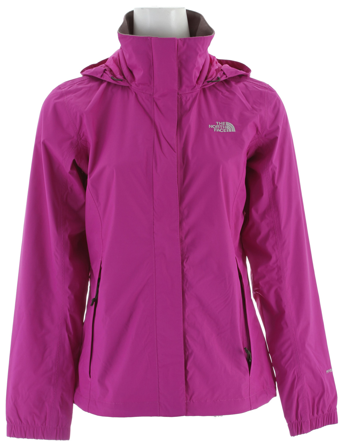 Mesh-lined, waterproof, breathable, seam-sealed jacket equipped for hard play in the worst weather. Key Features of the The North Face Resolve Jacket: Fabric: body: 70D 105 g/m2 (3.1 oz/yd2) nylon ripstop HyVent® 2L lining: mesh knit Standard fit Waterproof, breathable, seam sealed Mesh lined Attached, adjustable hood stows in collar Brushed chin guard Center front zip and Velcro® closure Two hand pockets Hem cinch-cord - $79.95