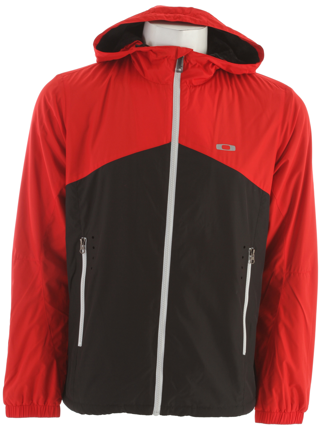 Snowboard Key Features of the Oakley Can Do Snowboard Jacket: DWR full zip color blocked hooded windbreaker with sherpa lining Exposed zipper pocket Elastic Cuffs Pocket drain system Reflective front and back screen print logo 100% Polyester - $99.95