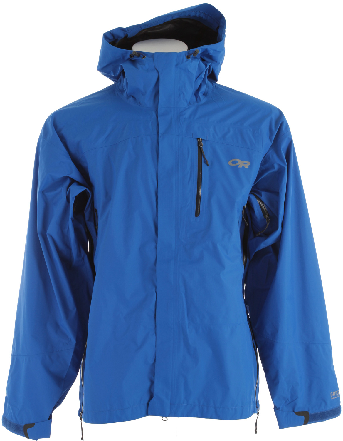 Key Features of the Outdoor Research Foray Shell Jacket: Lightweight, waterproof/breathable, 3-layer 40D GORE-TEX® Paclite® fabric Fully seam taped Fully adjustable hood Double-separating front zipper with external stormflap Double-sliding, water-resistant TorsoFlo™ hem-to-bicep zippers Water-resistant zippers; napoleon pocket and hand pockets Zippered internal chest pocket doubles as stuff sack Elastic cuffs with hook/loop tabs Dual drawcord hem adjustments - $189.95