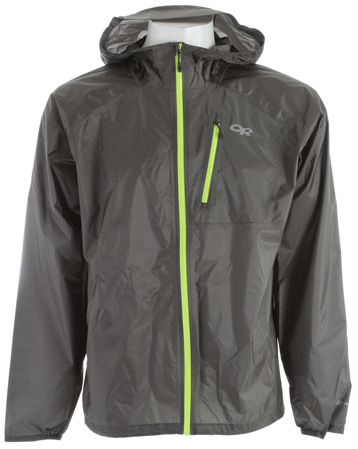 "For flash-storm protection, the new Helium II is 6% lighter and 10% more breathable than the original. An ultra-compressible piece you'll never leave behind, the new Helium II offers 30% more waterproof protection from mid-route downpoursKey Features of the Outdoor Research Helium II Jacket: 100% Nylon, 2.5 layer 30D Pertex® Shield DS ripstop fabric w/ clear laminate Ultralight Waterproof/Breathable Fully seam taped Adjustable hood Water-resistant zippers 7.5""internal stormflap Zippered chest pocket Stuff pocket with biner loop Elastic cuffs Drawcord hem - $104.95"